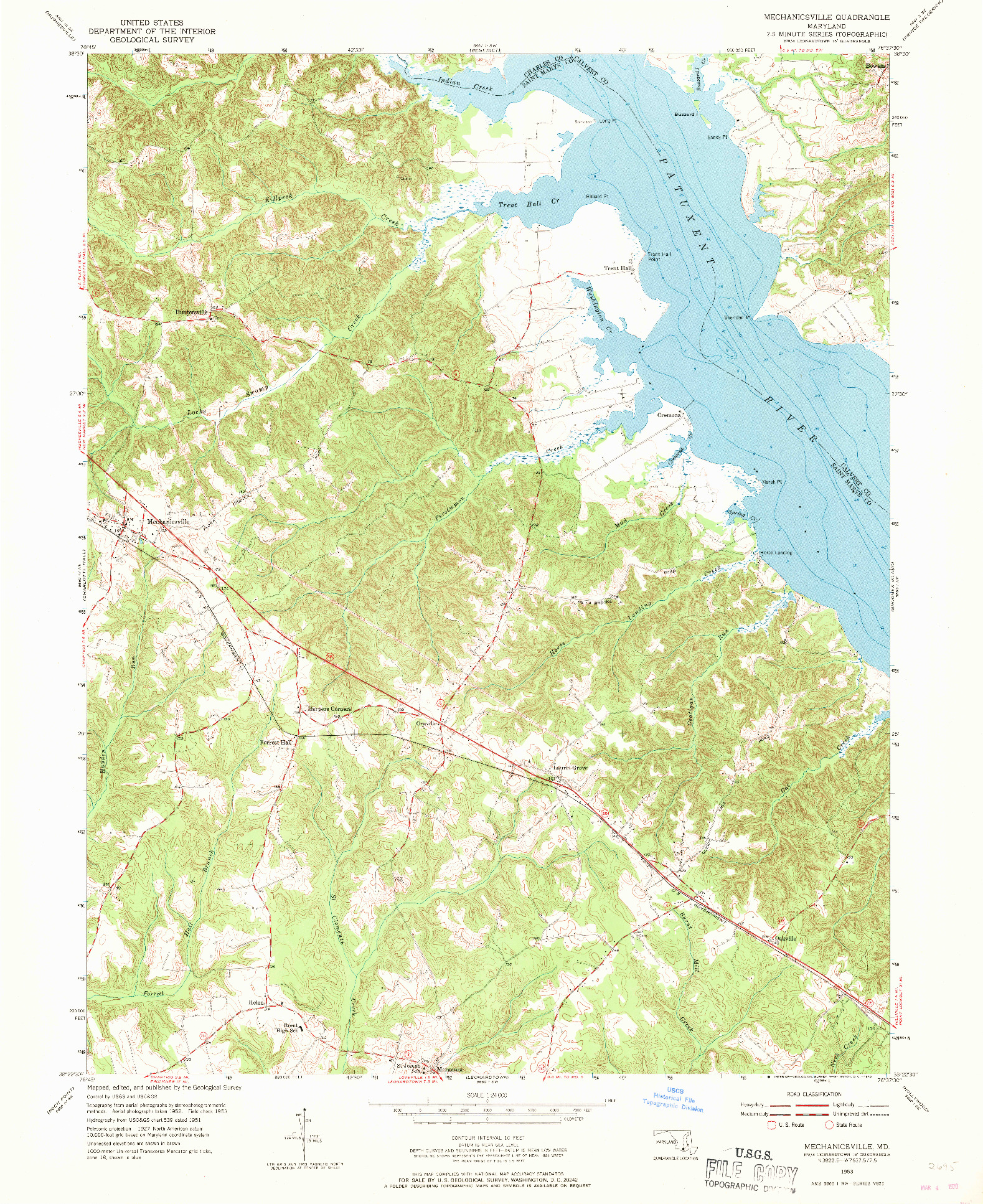 USGS 1:24000-SCALE QUADRANGLE FOR MECHANICSVILLE, MD 1953