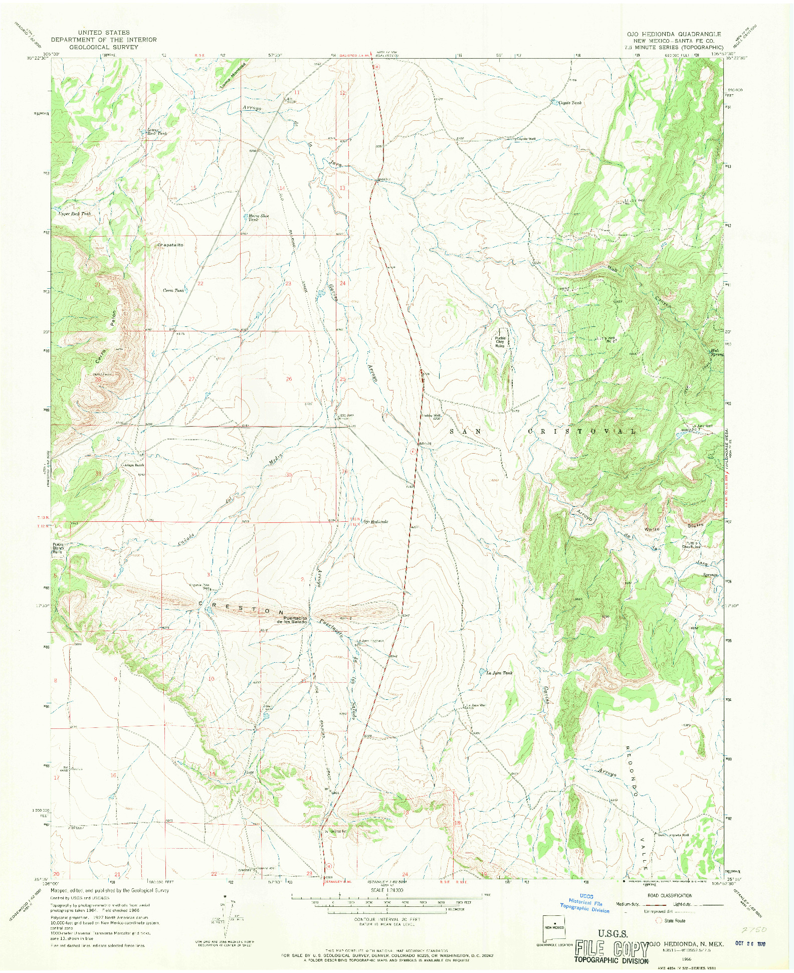 USGS 1:24000-SCALE QUADRANGLE FOR OJO HEDIONDA, NM 1966