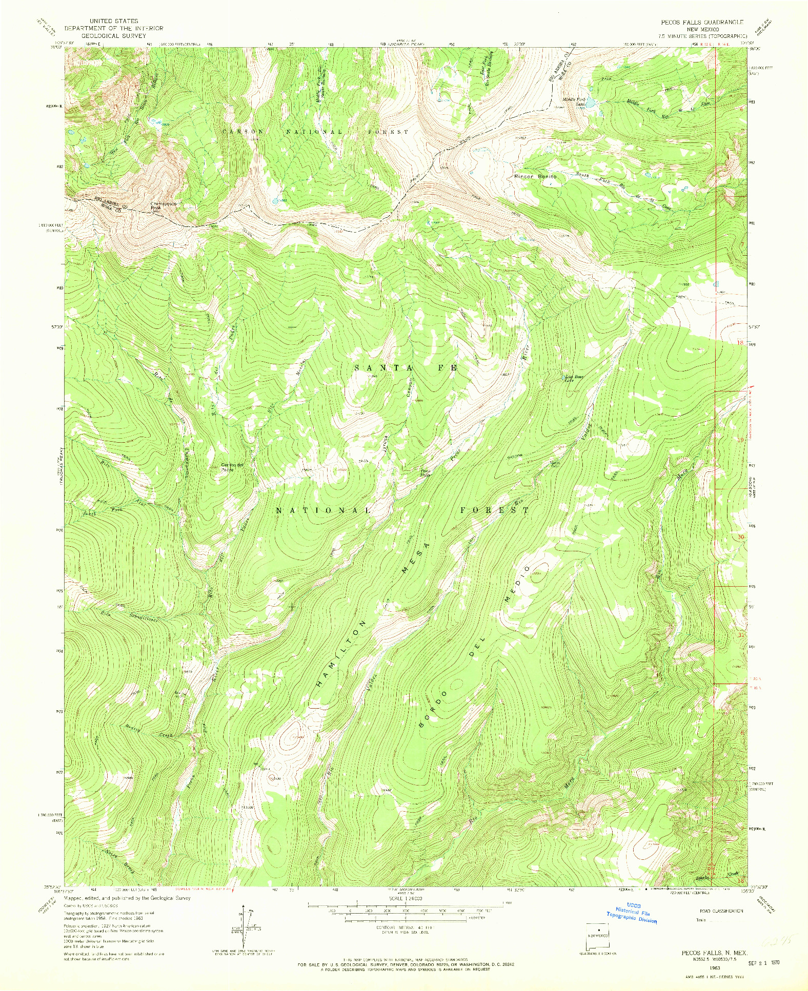 USGS 1:24000-SCALE QUADRANGLE FOR PECOS FALLS, NM 1963