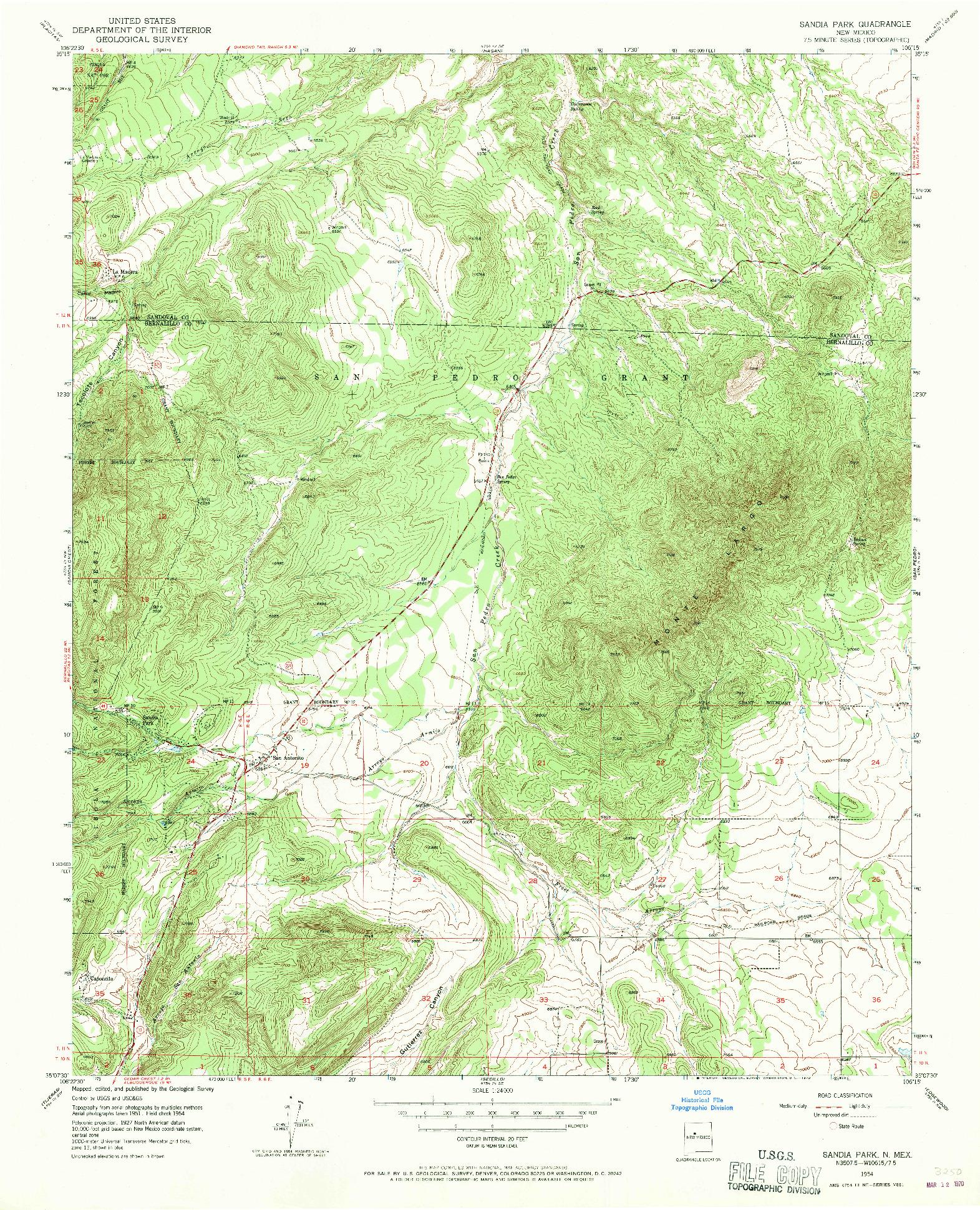 USGS 1:24000-SCALE QUADRANGLE FOR SANDIA PARK, NM 1954