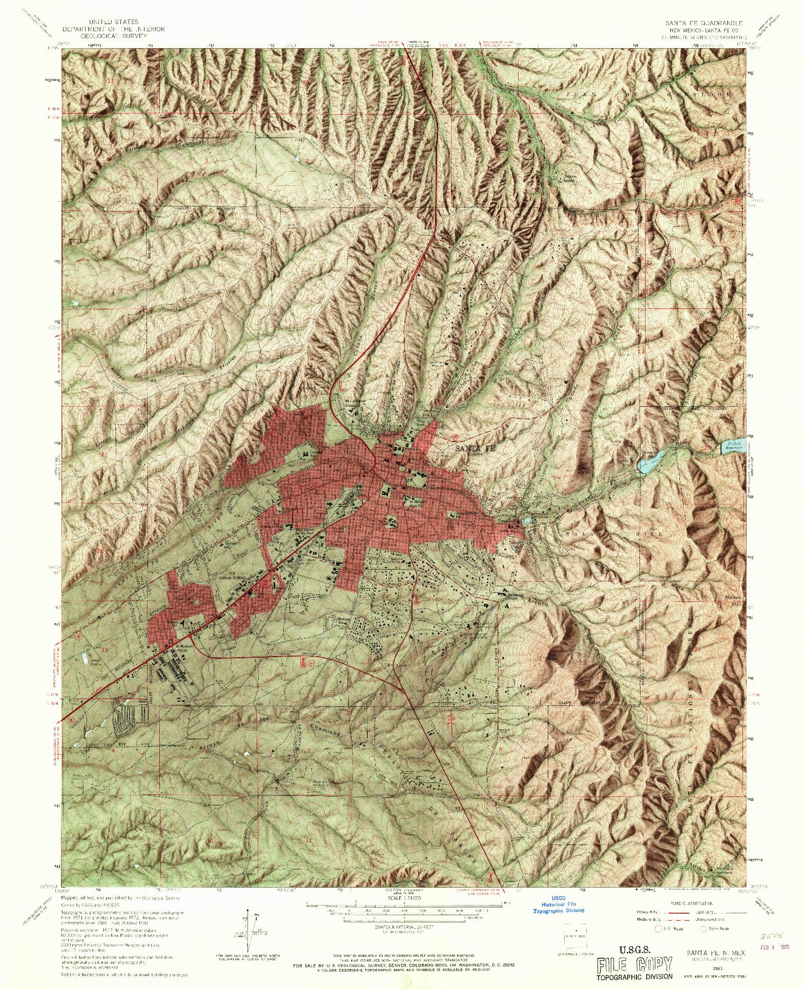 USGS 1:24000-SCALE QUADRANGLE FOR SANTA FE, NM 1961