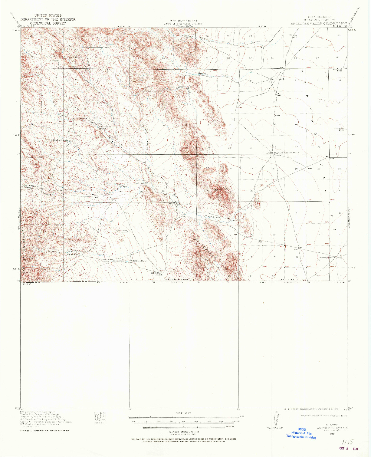 USGS 1:62500-SCALE QUADRANGLE FOR ANTELOPE WELLS, NM 1917
