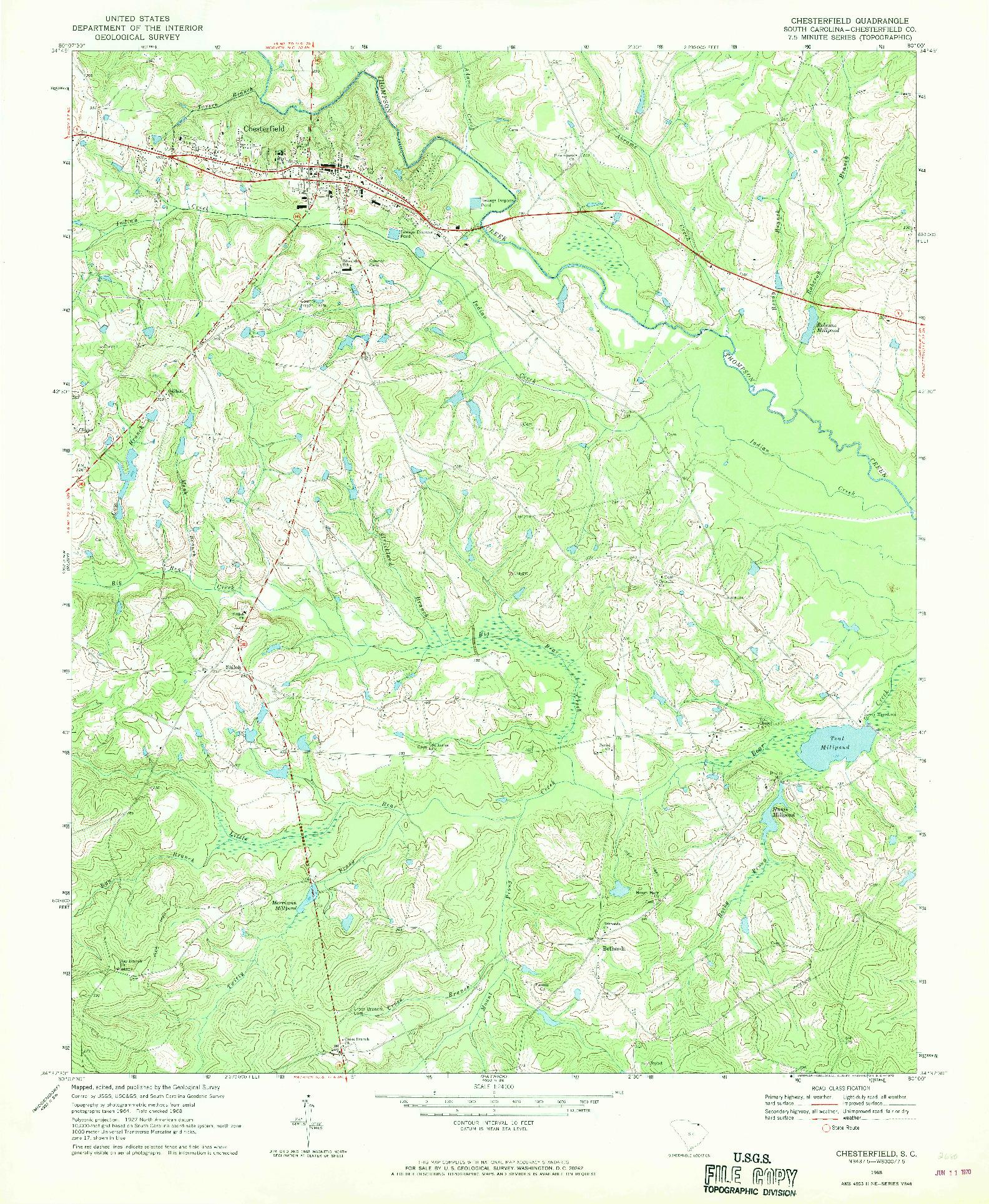 USGS 1:24000-SCALE QUADRANGLE FOR CHESTERFIELD, SC 1968