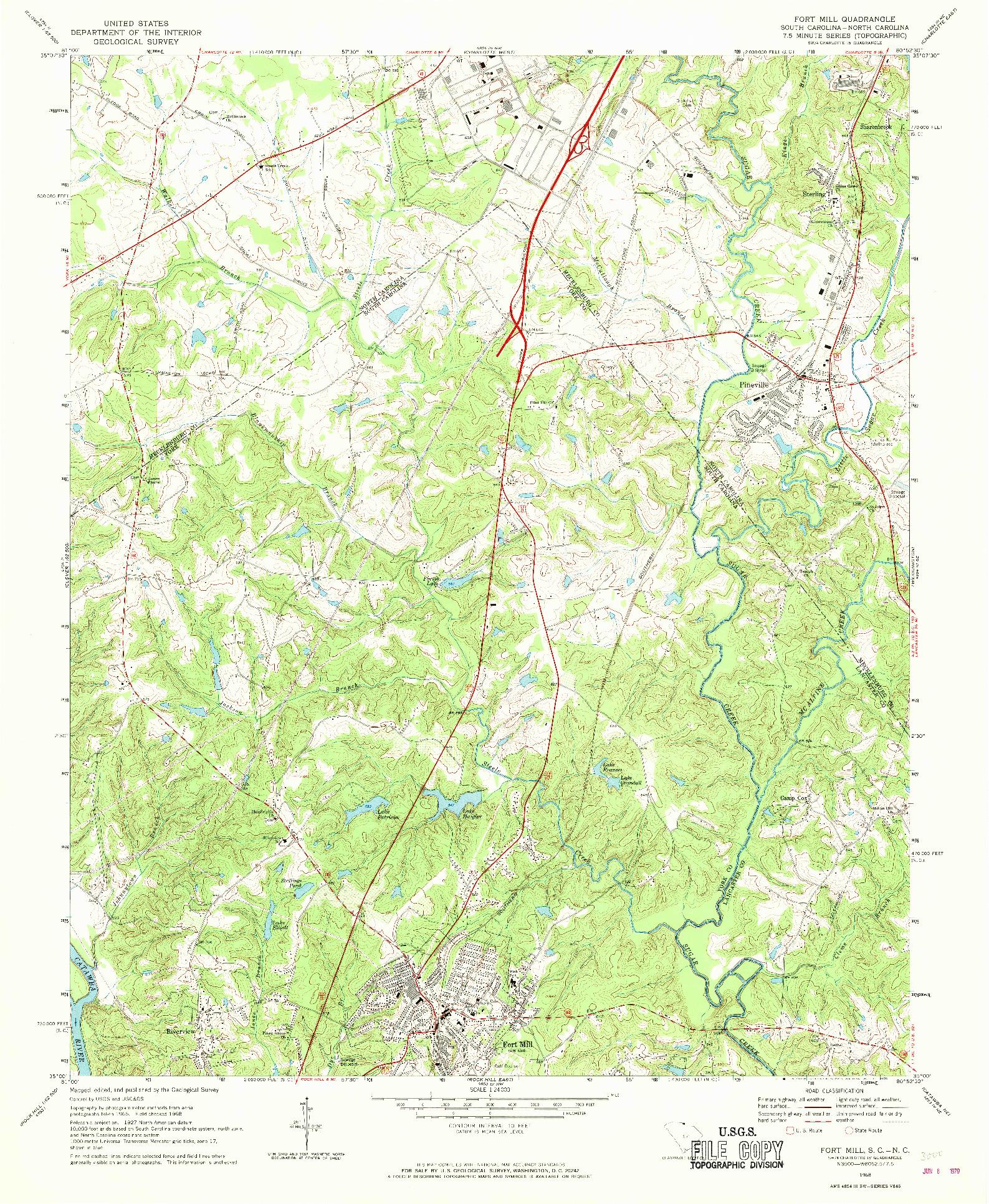 USGS 1:24000-SCALE QUADRANGLE FOR FORT MILL, SC 1968