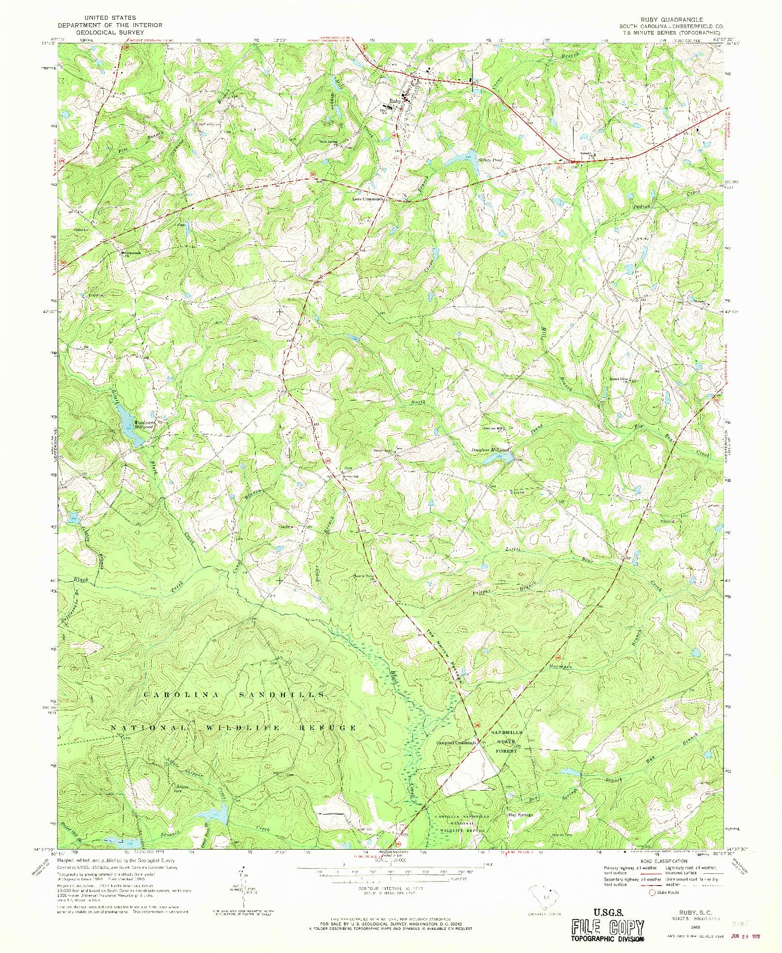 USGS 1:24000-SCALE QUADRANGLE FOR RUBY, SC 1968