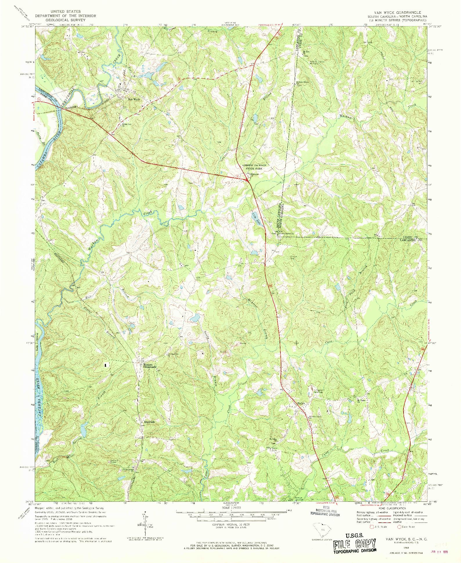 USGS 1:24000-SCALE QUADRANGLE FOR VAN WYCK, SC 1968