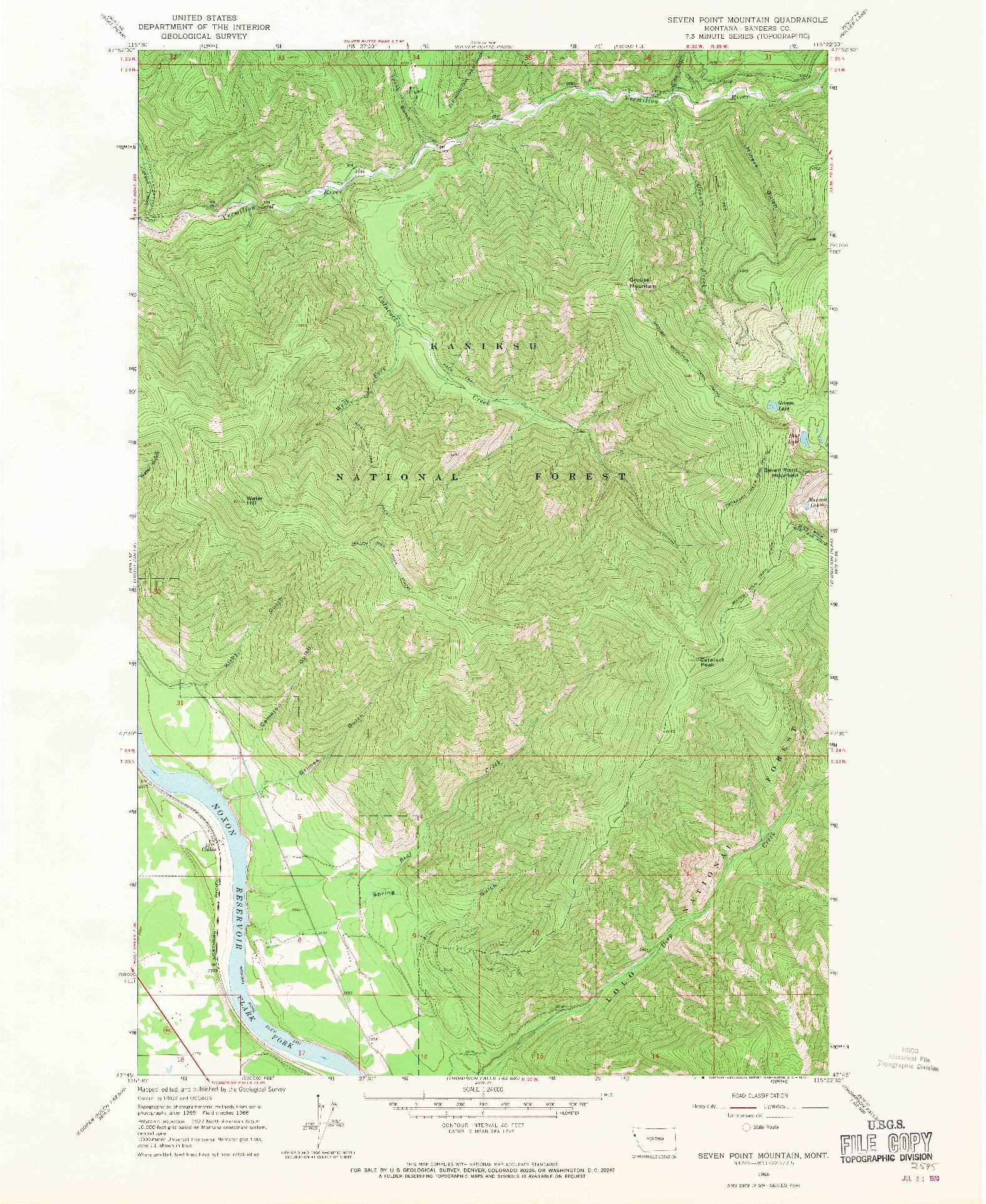USGS 1:24000-SCALE QUADRANGLE FOR SEVEN POINT MOUNTAIN, MT 1966