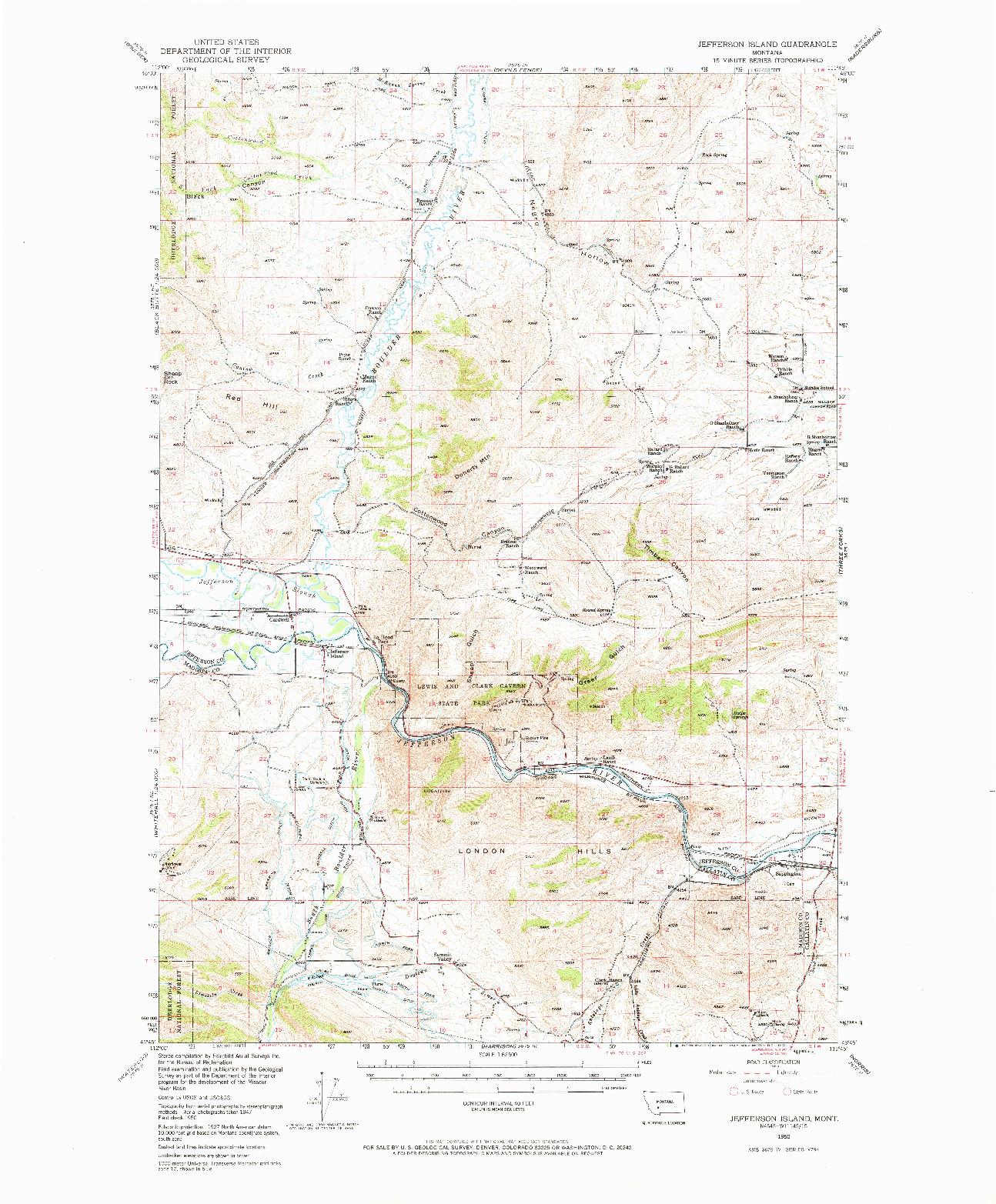 USGS 1:62500-SCALE QUADRANGLE FOR JEFFERSON ISLAND, MT 1950
