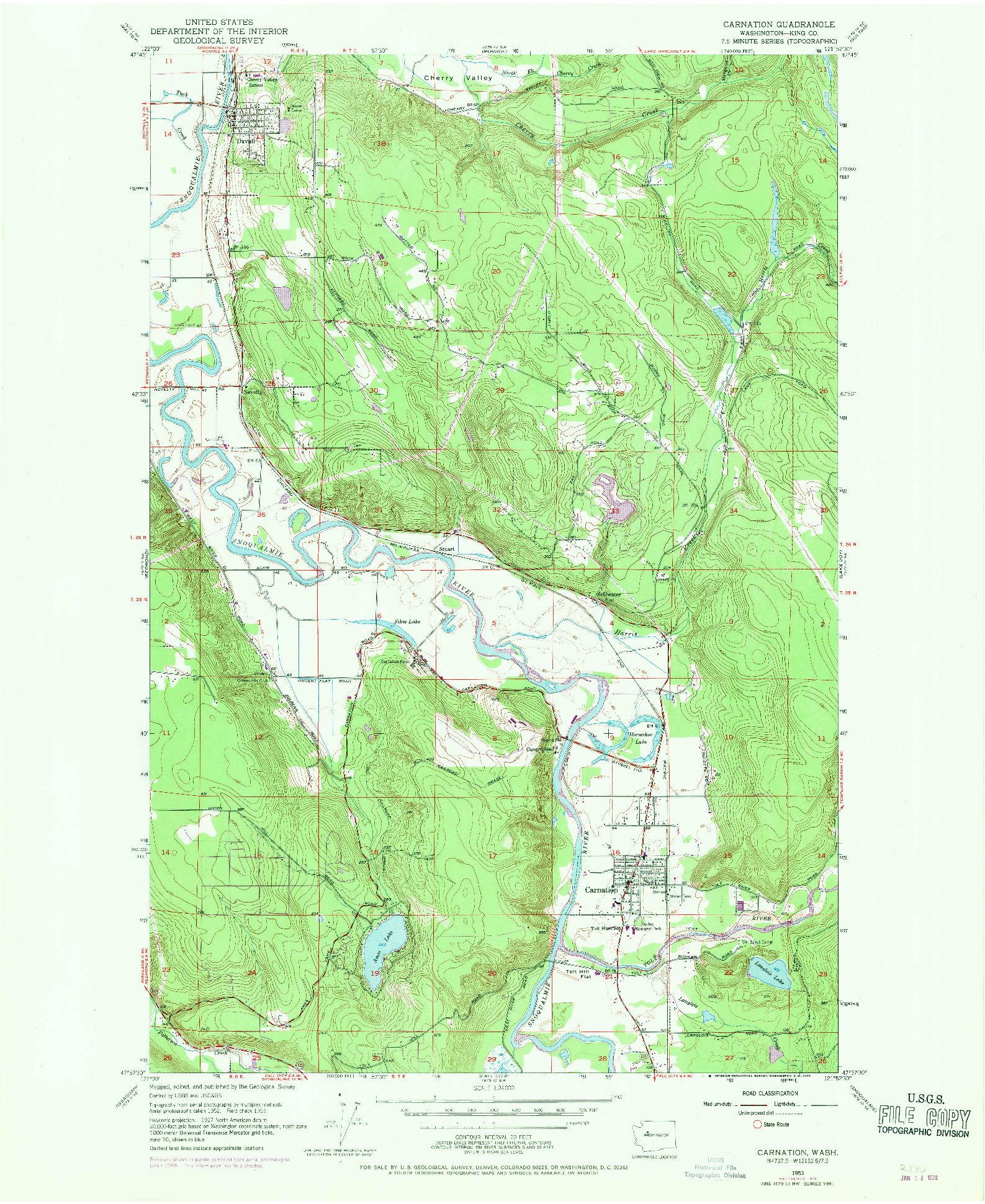 USGS 1:24000-SCALE QUADRANGLE FOR CARNATION, WA 1953