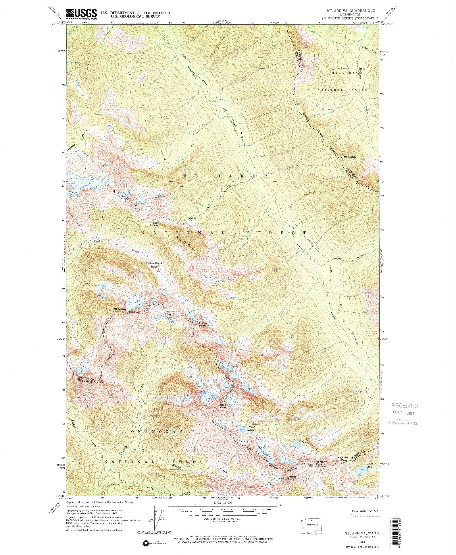 USGS 1:24000-SCALE QUADRANGLE FOR MT. ARRIVA, WA 1963
