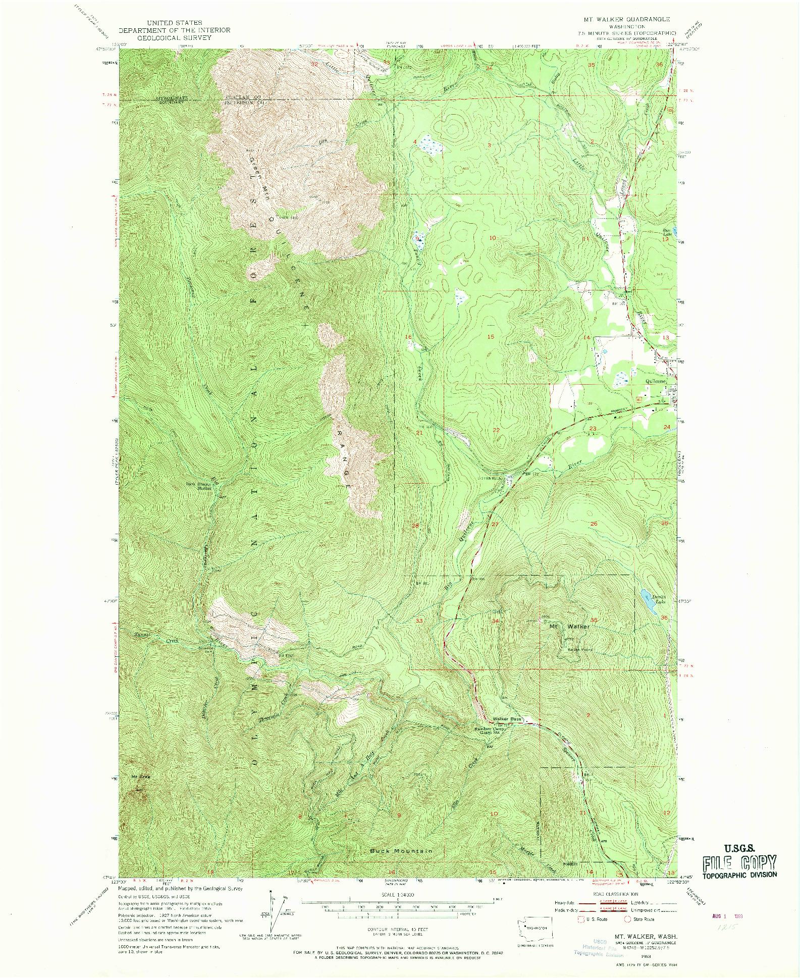 USGS 1:24000-SCALE QUADRANGLE FOR MT. WALKER, WA 1953