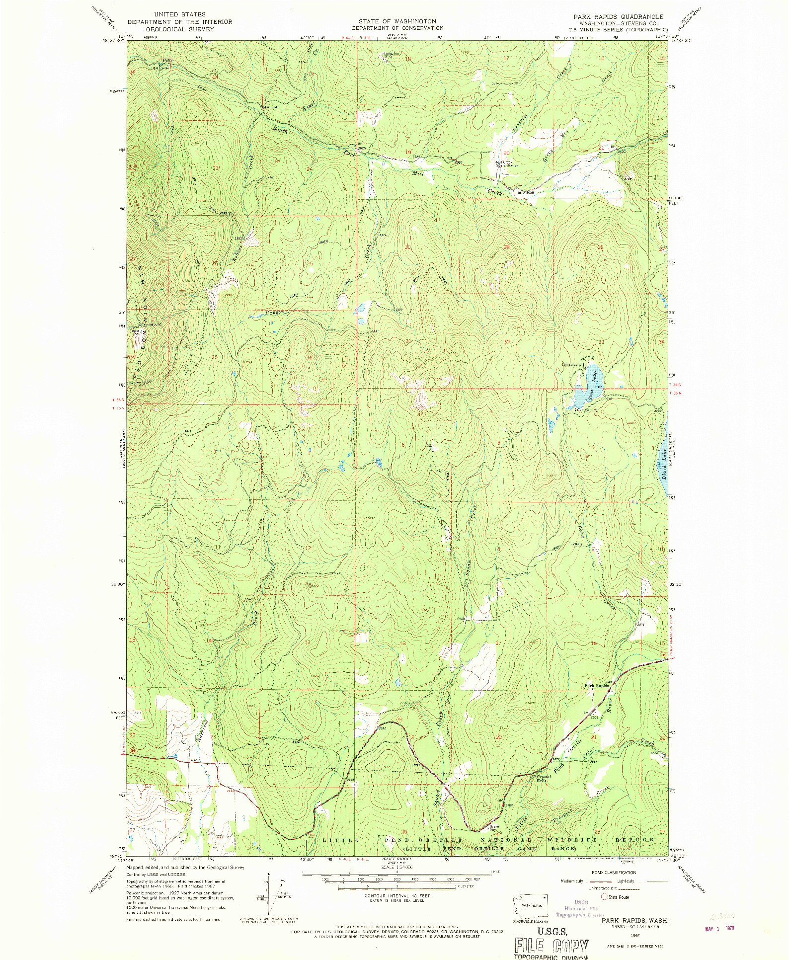 USGS 1:24000-SCALE QUADRANGLE FOR PARK RAPIDS, WA 1967