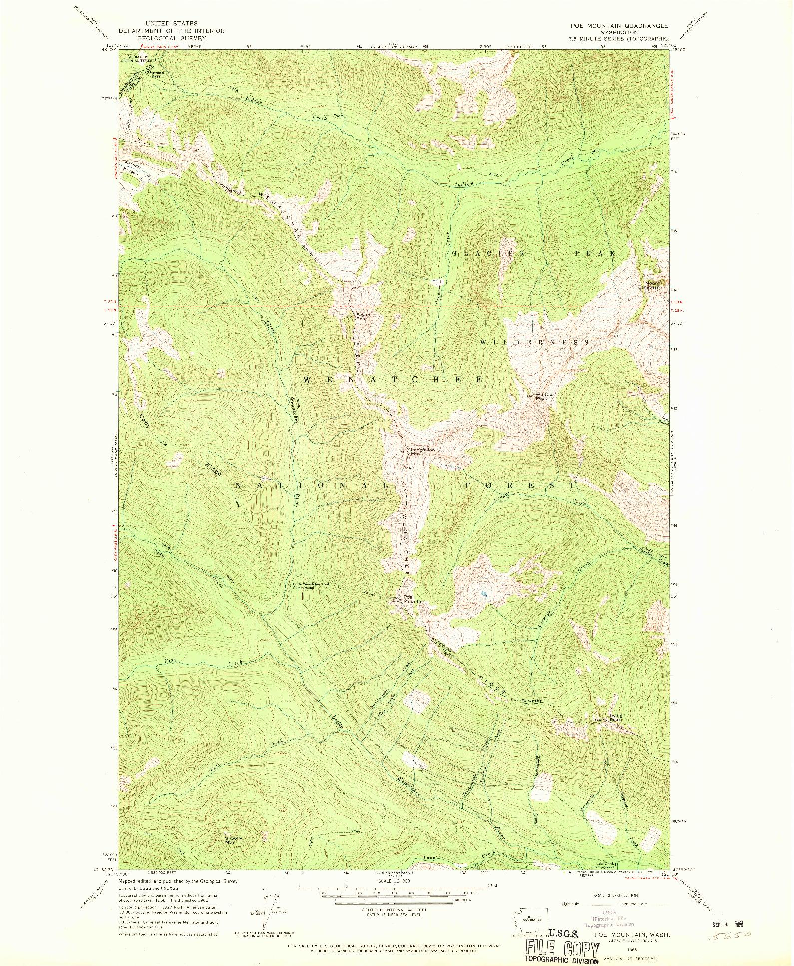 USGS 1:24000-SCALE QUADRANGLE FOR POE MOUNTAIN, WA 1965