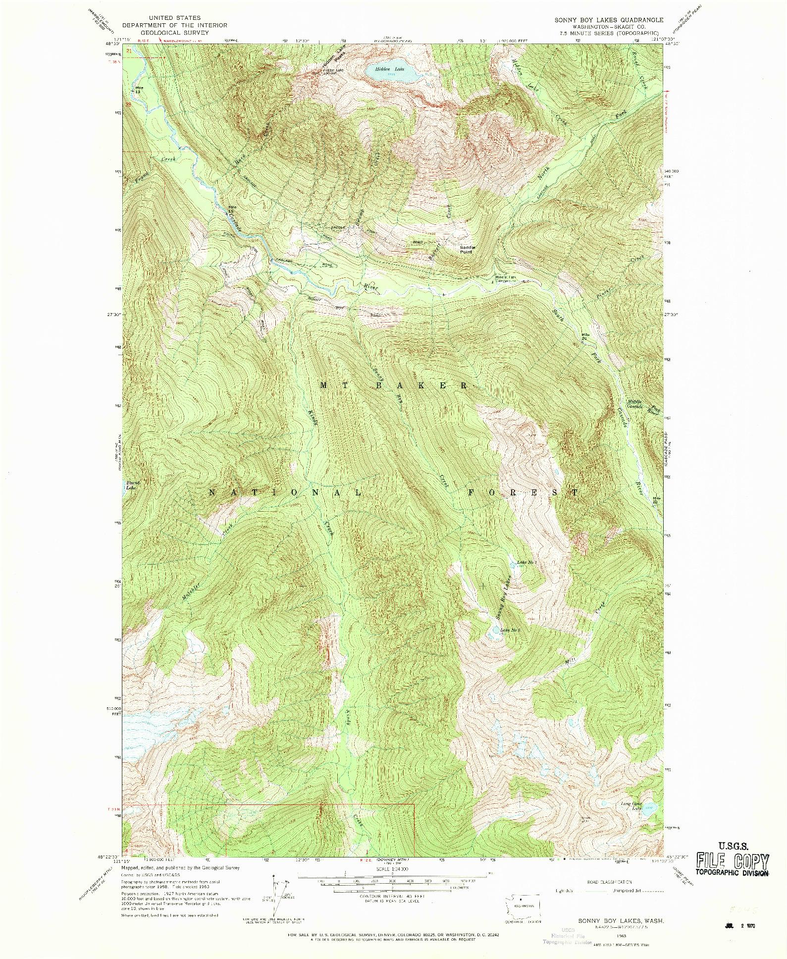 USGS 1:24000-SCALE QUADRANGLE FOR SONNY BOY LAKES, WA 1963