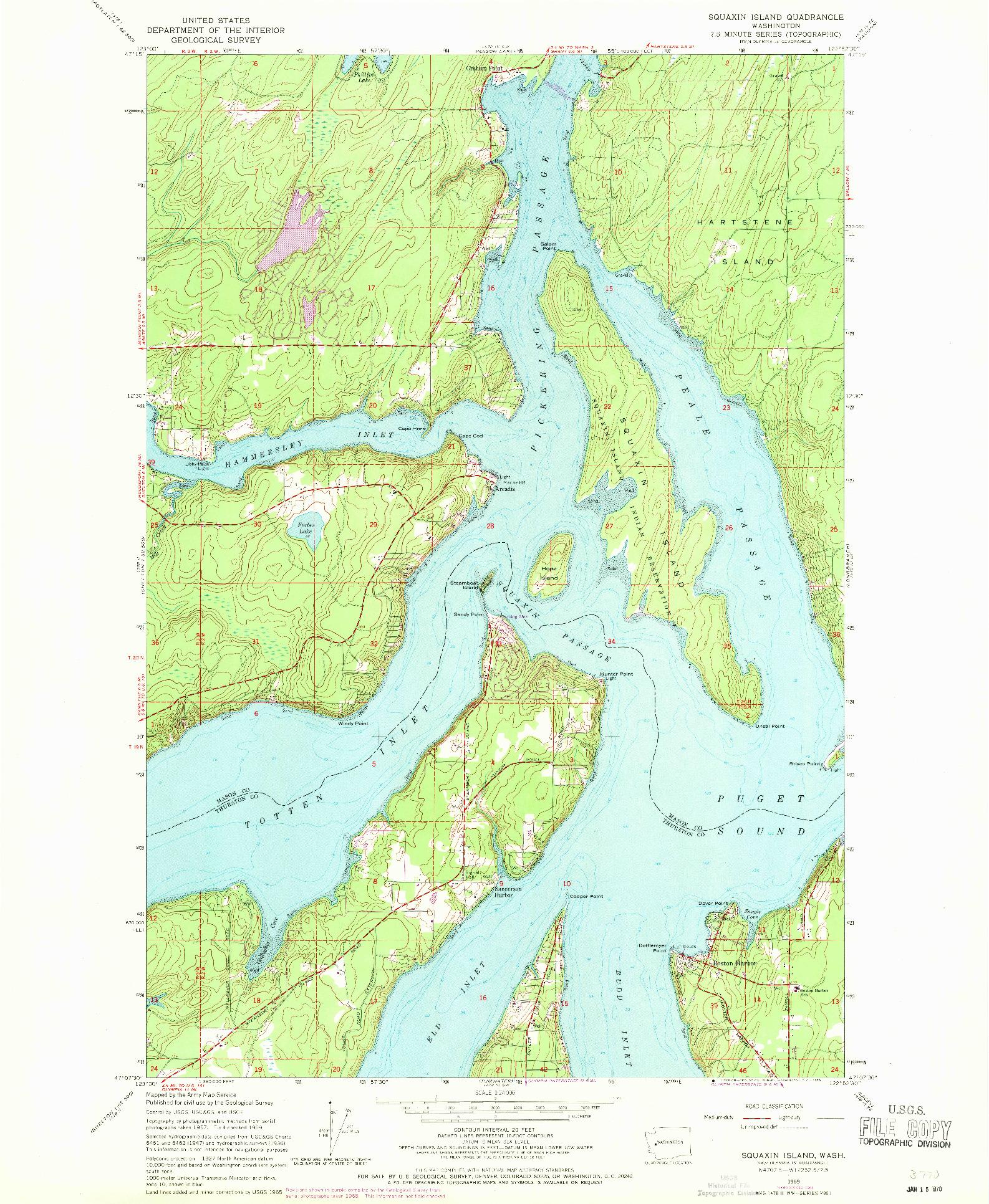USGS 1:24000-SCALE QUADRANGLE FOR SQUAXIN ISLAND, WA 1959