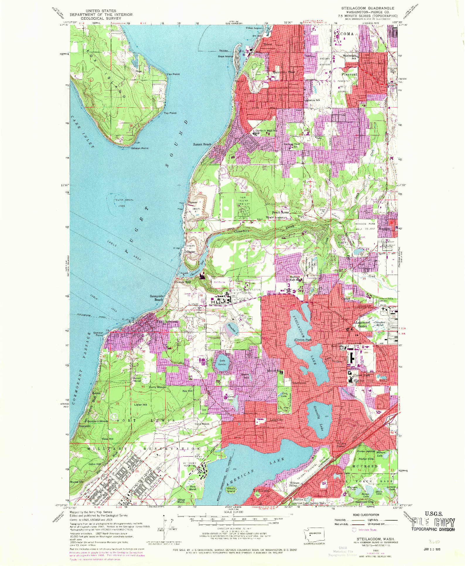 USGS 1:24000-SCALE QUADRANGLE FOR STEILACOOM, WA 1959