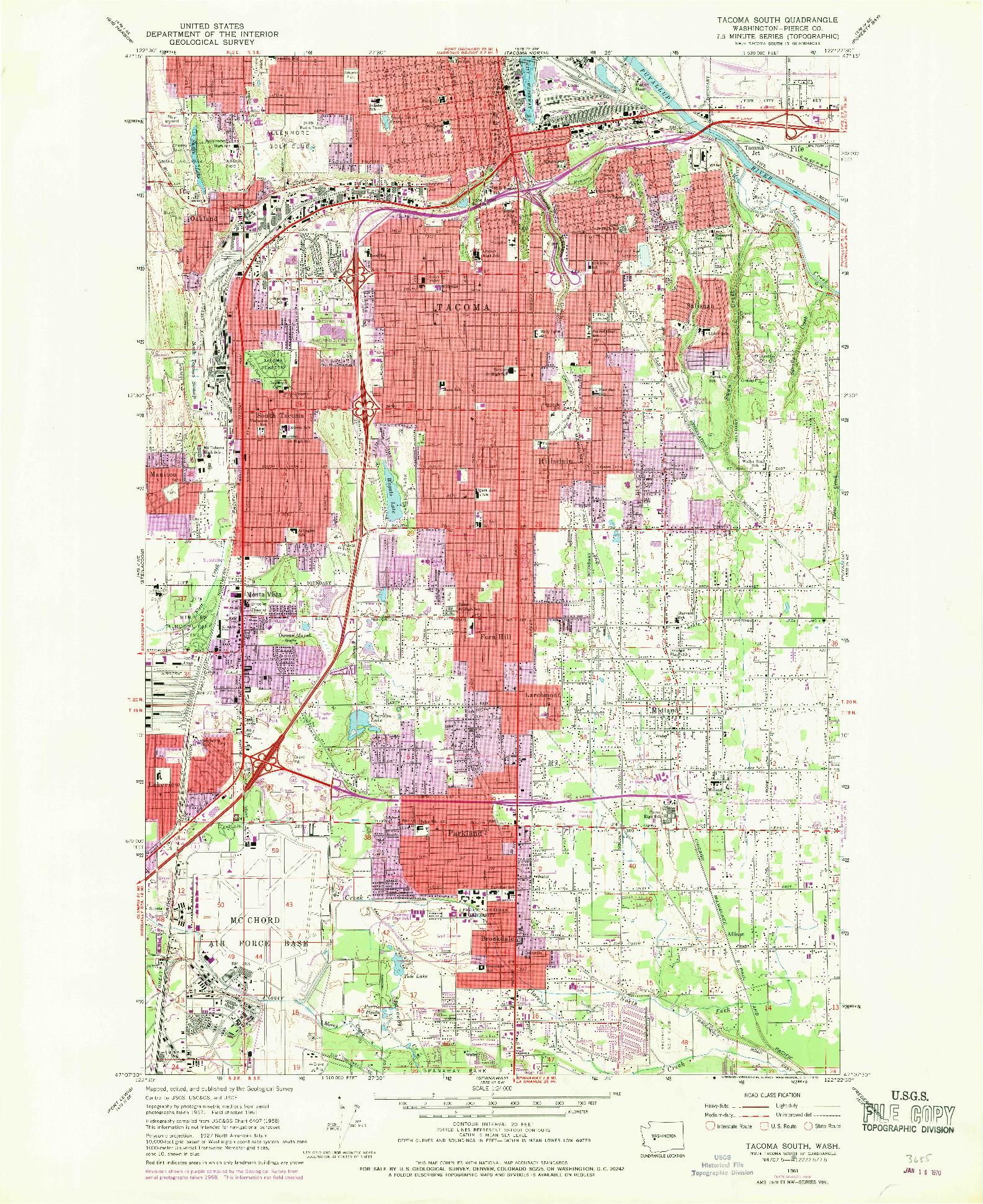 USGS 1:24000-SCALE QUADRANGLE FOR TACOMA SOUTH, WA 1961
