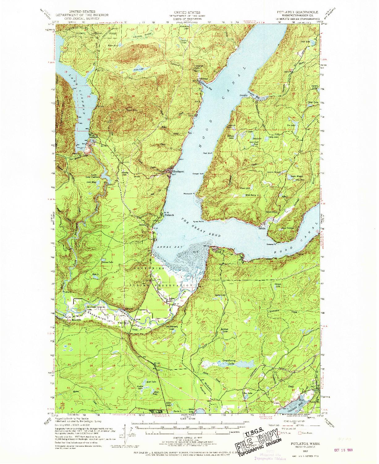 USGS 1:62500-SCALE QUADRANGLE FOR POTLATCH, WA 1952