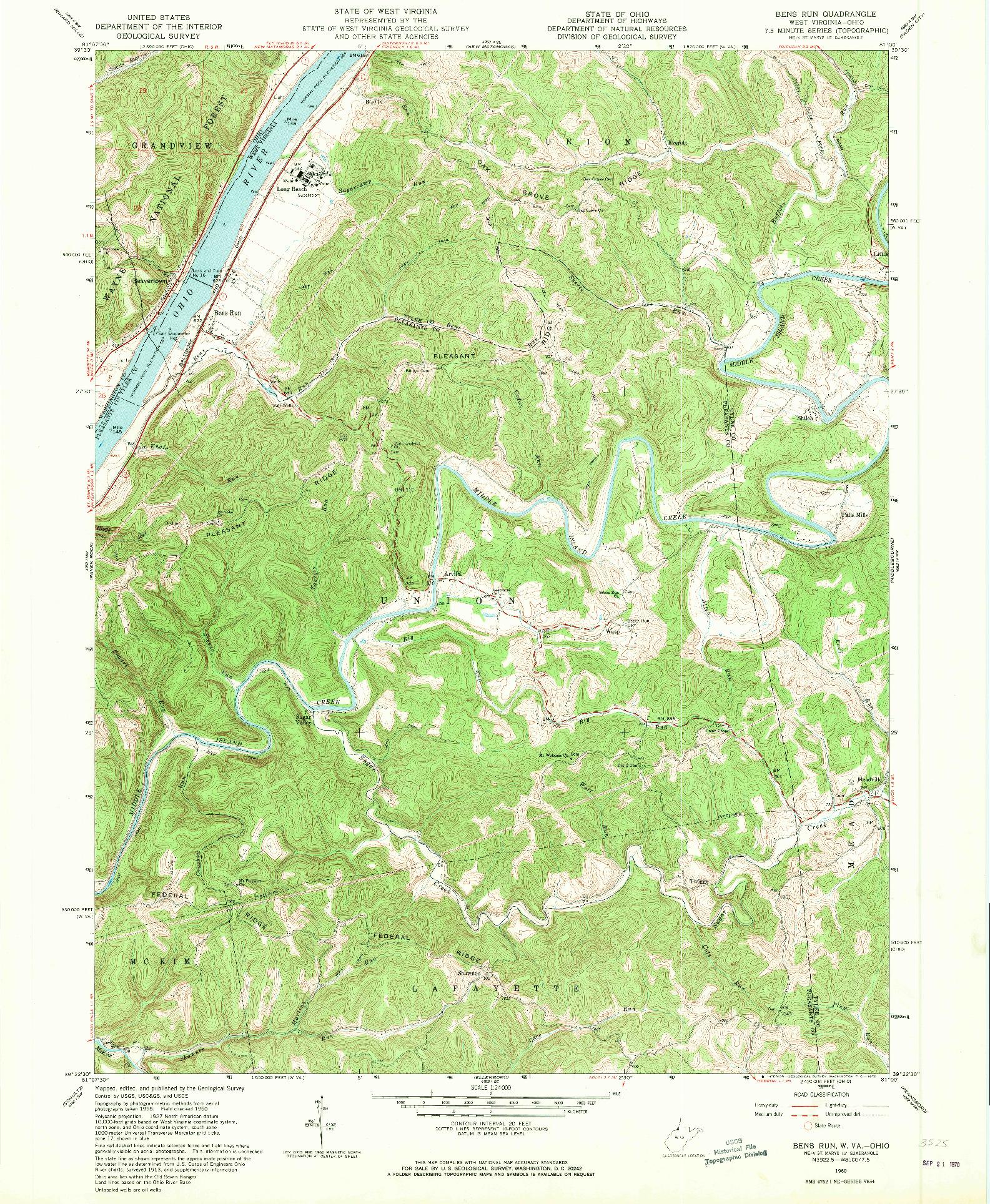 USGS 1:24000-SCALE QUADRANGLE FOR BENS RUN, WV 1960