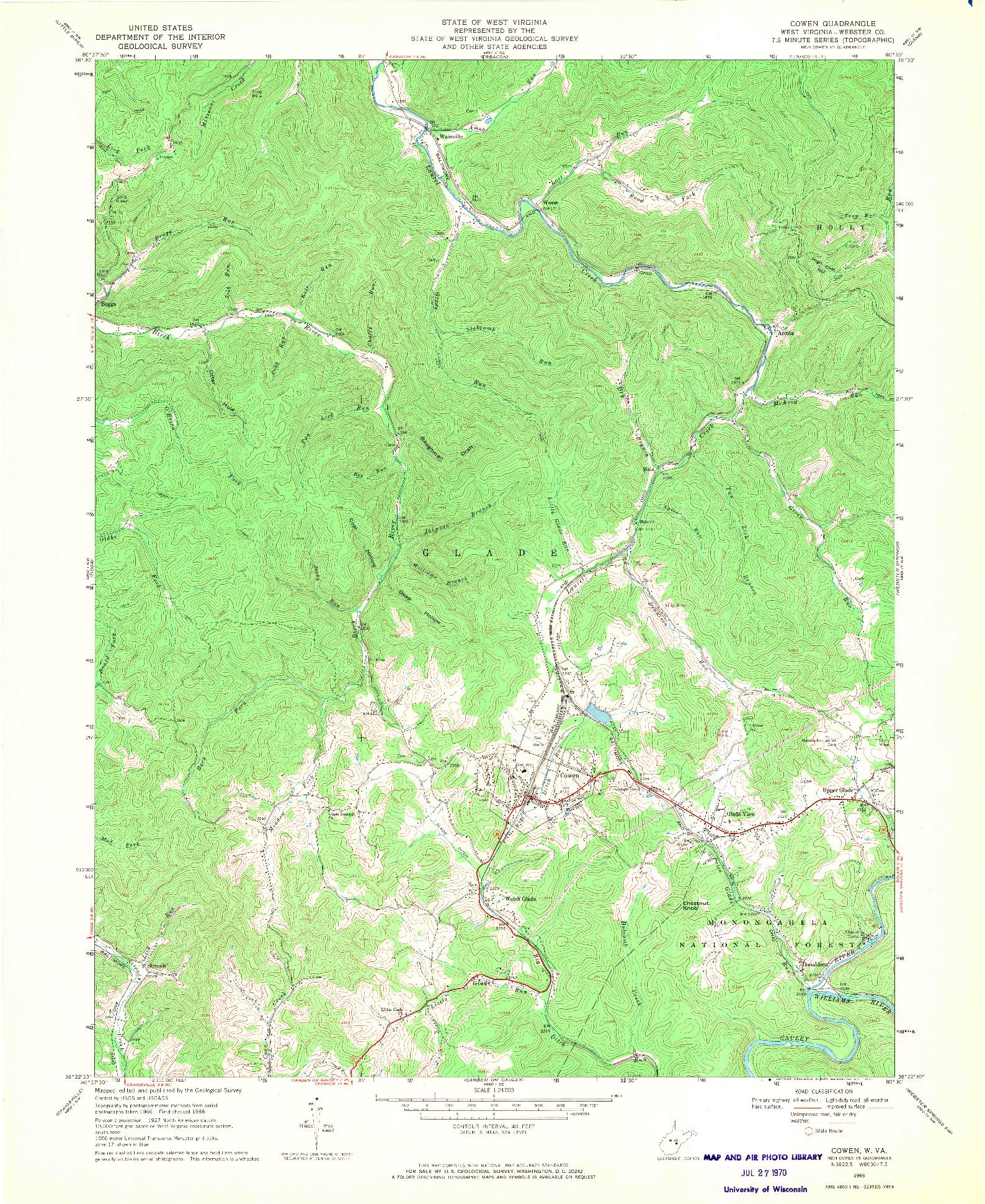 USGS 1:24000-SCALE QUADRANGLE FOR COWEN, WV 1966