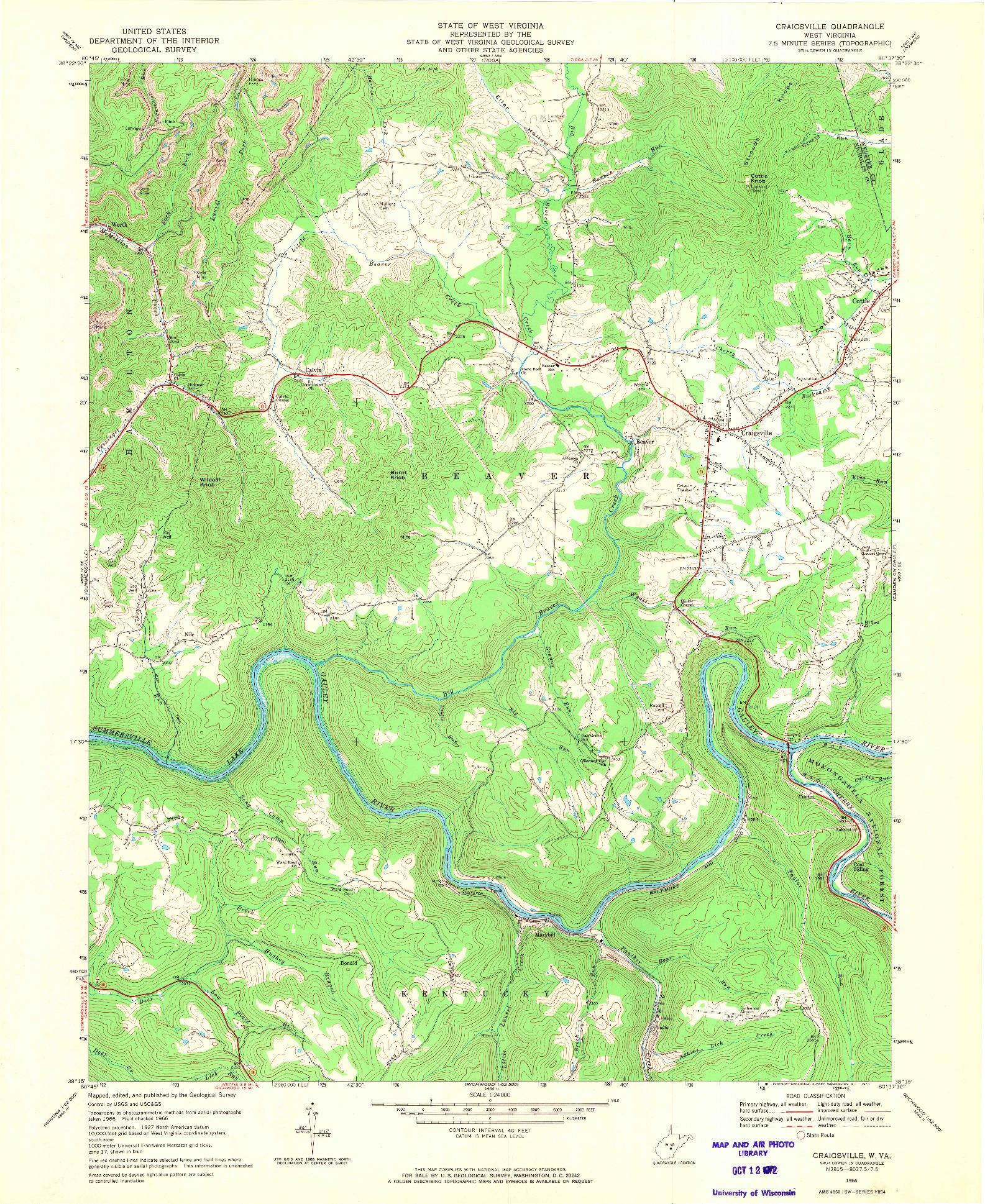 USGS 1:24000-SCALE QUADRANGLE FOR CRAIGSVILLE, WV 1966