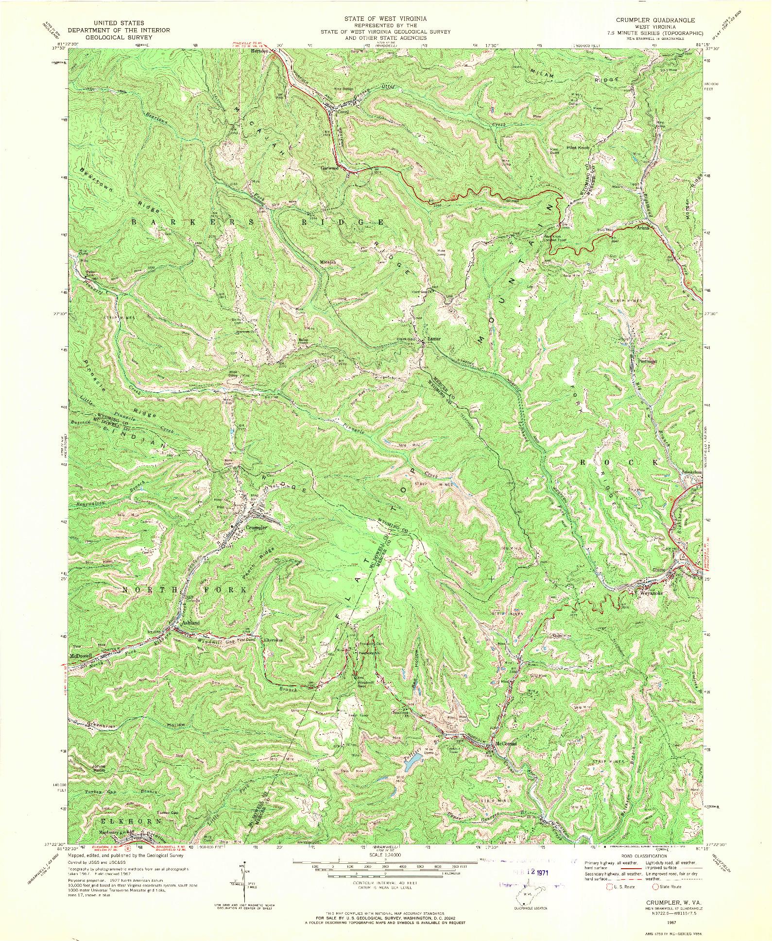 USGS 1:24000-SCALE QUADRANGLE FOR CRUMPLER, WV 1967