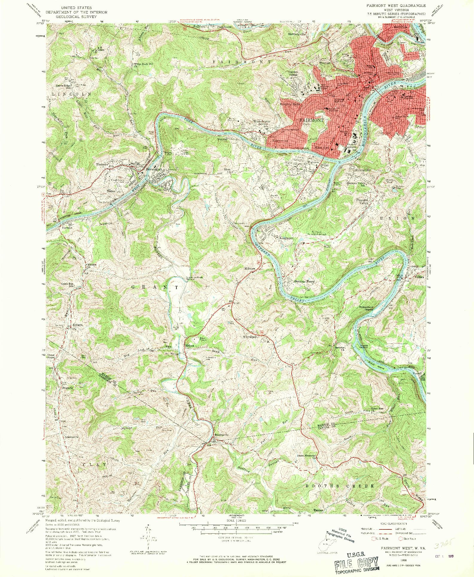 USGS 1:24000-SCALE QUADRANGLE FOR FAIRMONT WEST, WV 1958