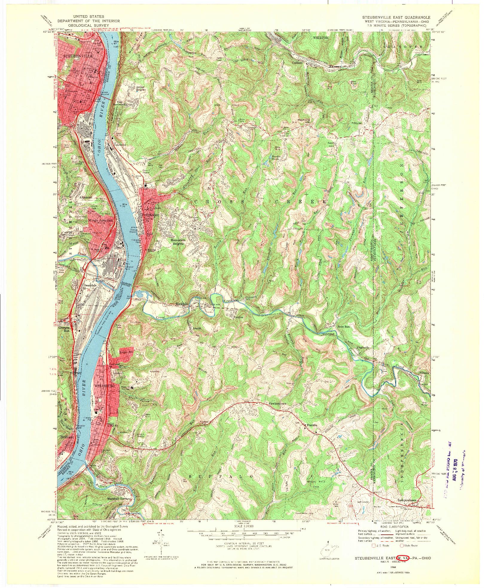 USGS 1:24000-SCALE QUADRANGLE FOR STEUBENVILLE EAST, WV 1968