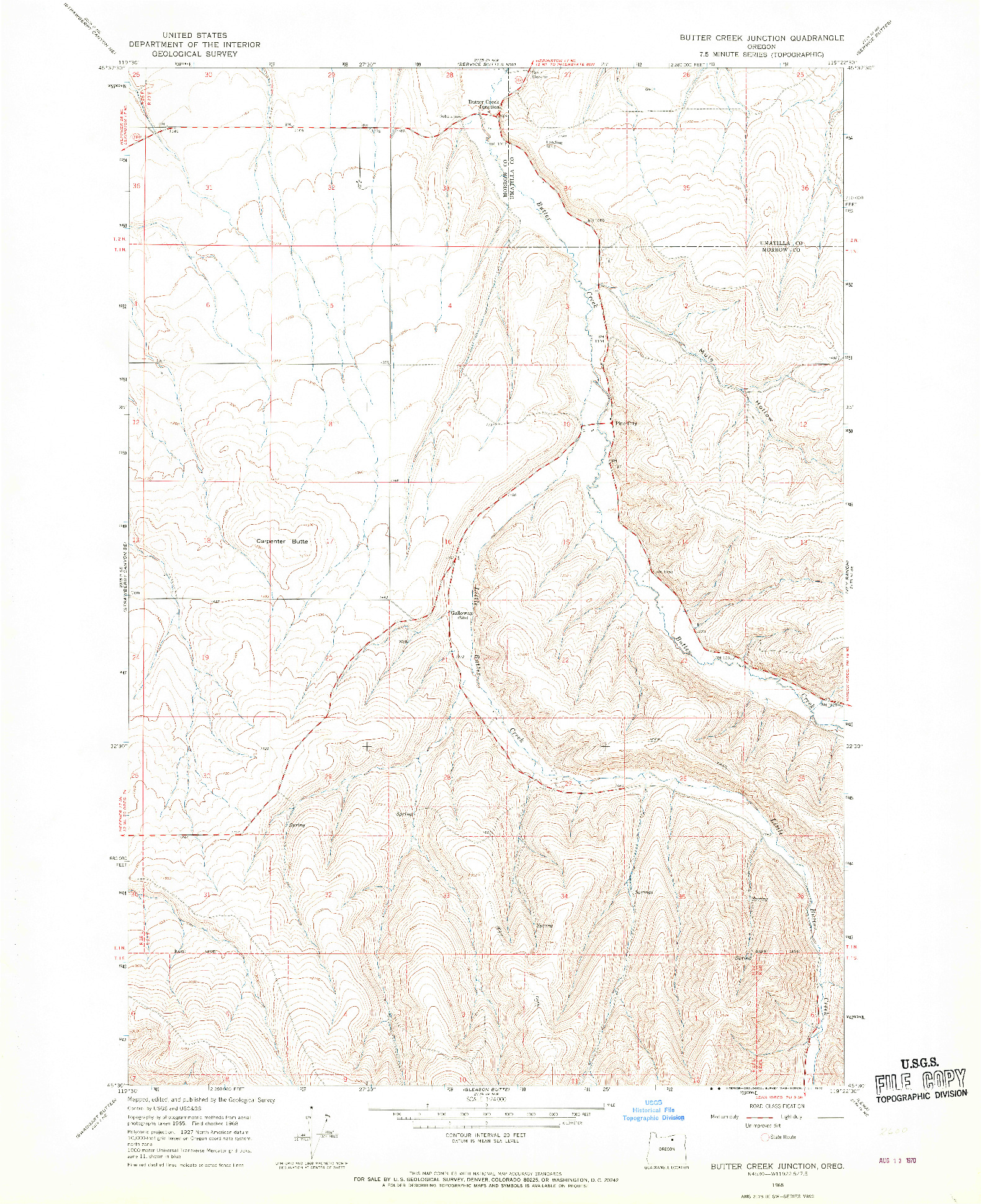 USGS 1:24000-SCALE QUADRANGLE FOR BUTTER CREEK JUNCTION, OR 1968