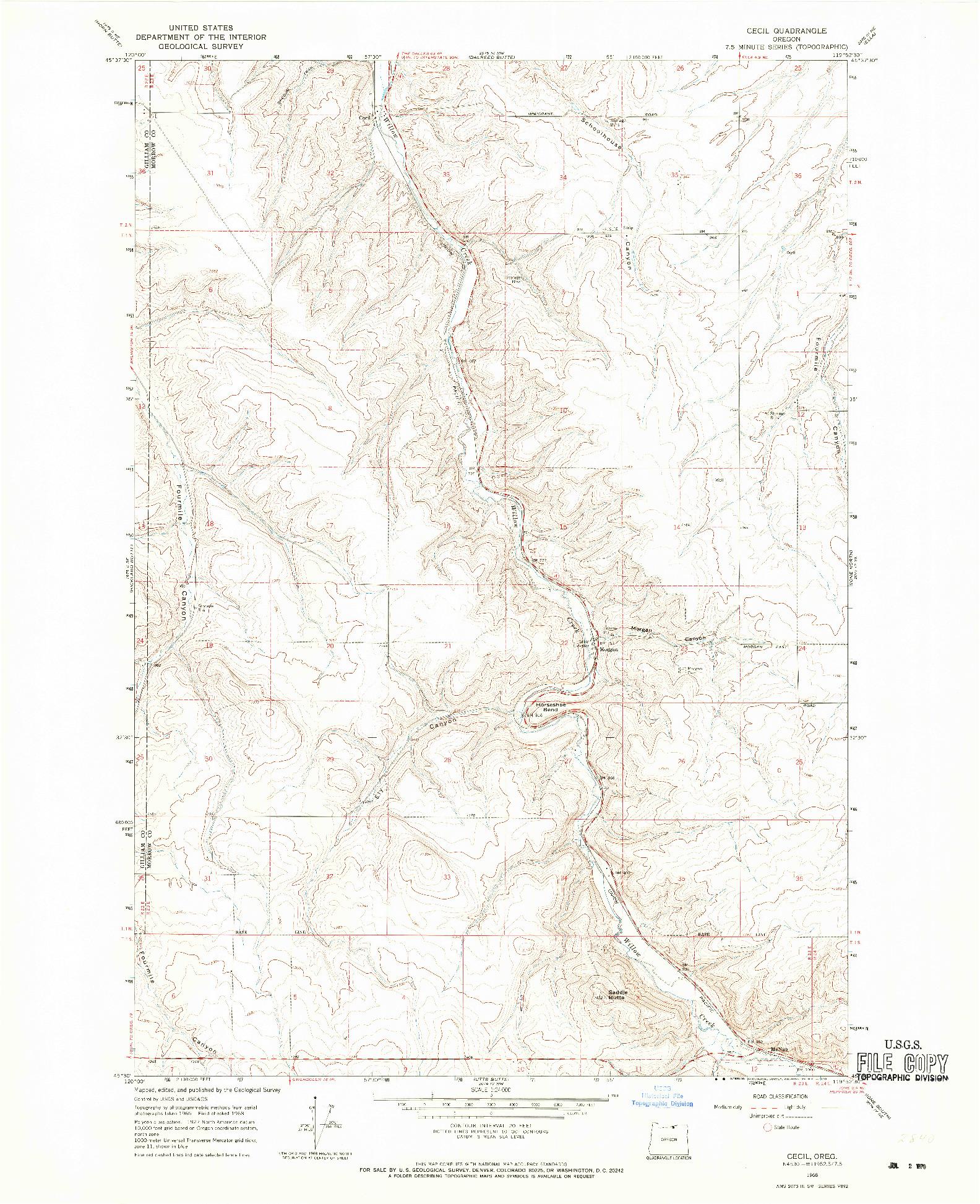 USGS 1:24000-SCALE QUADRANGLE FOR CECIL, OR 1968