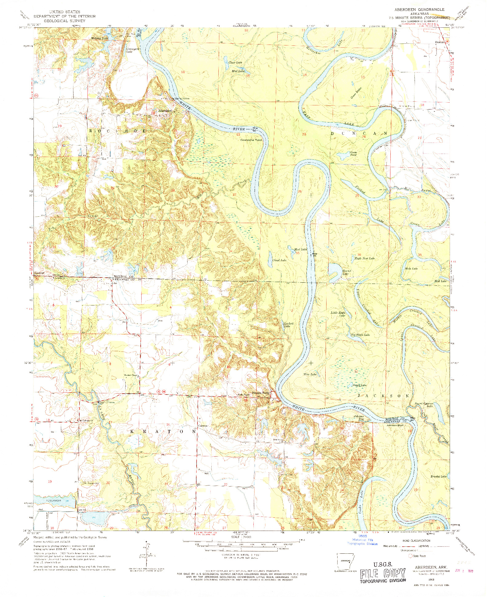 USGS 1:24000-SCALE QUADRANGLE FOR ABERDEEN, AR 1968