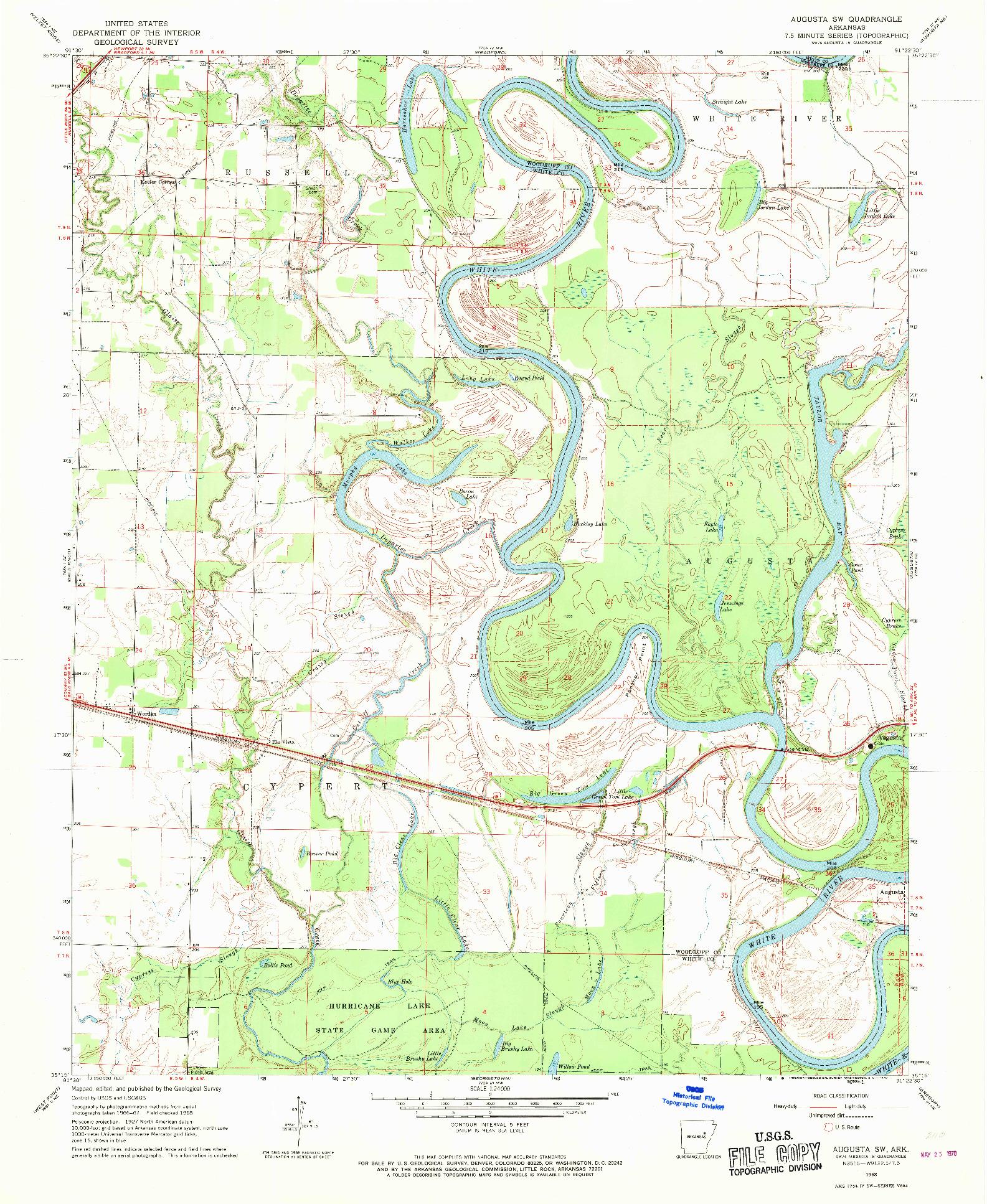 USGS 1:24000-SCALE QUADRANGLE FOR AUGUSTA SW, AR 1968