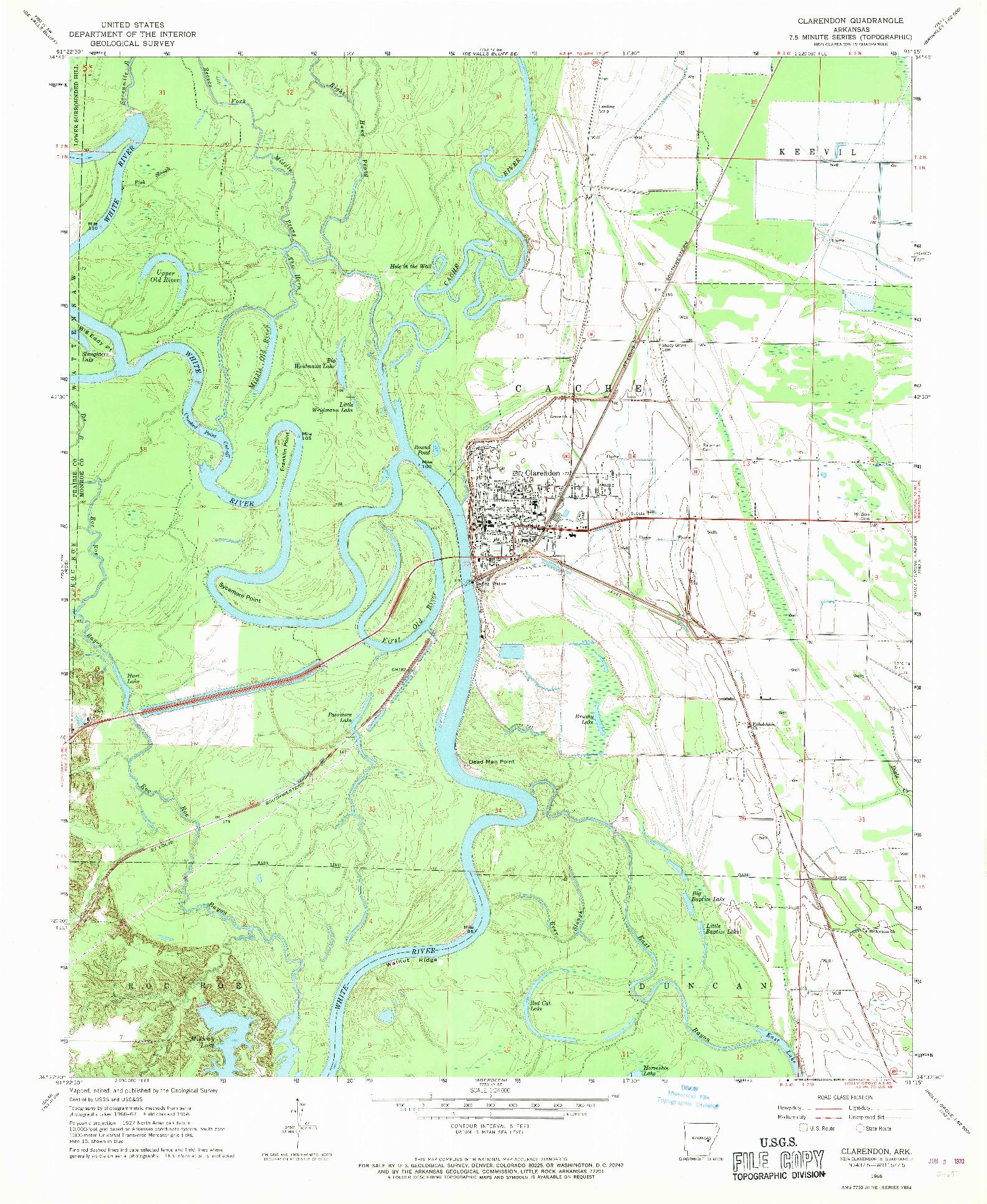 USGS 1:24000-SCALE QUADRANGLE FOR CLARENDON, AR 1968