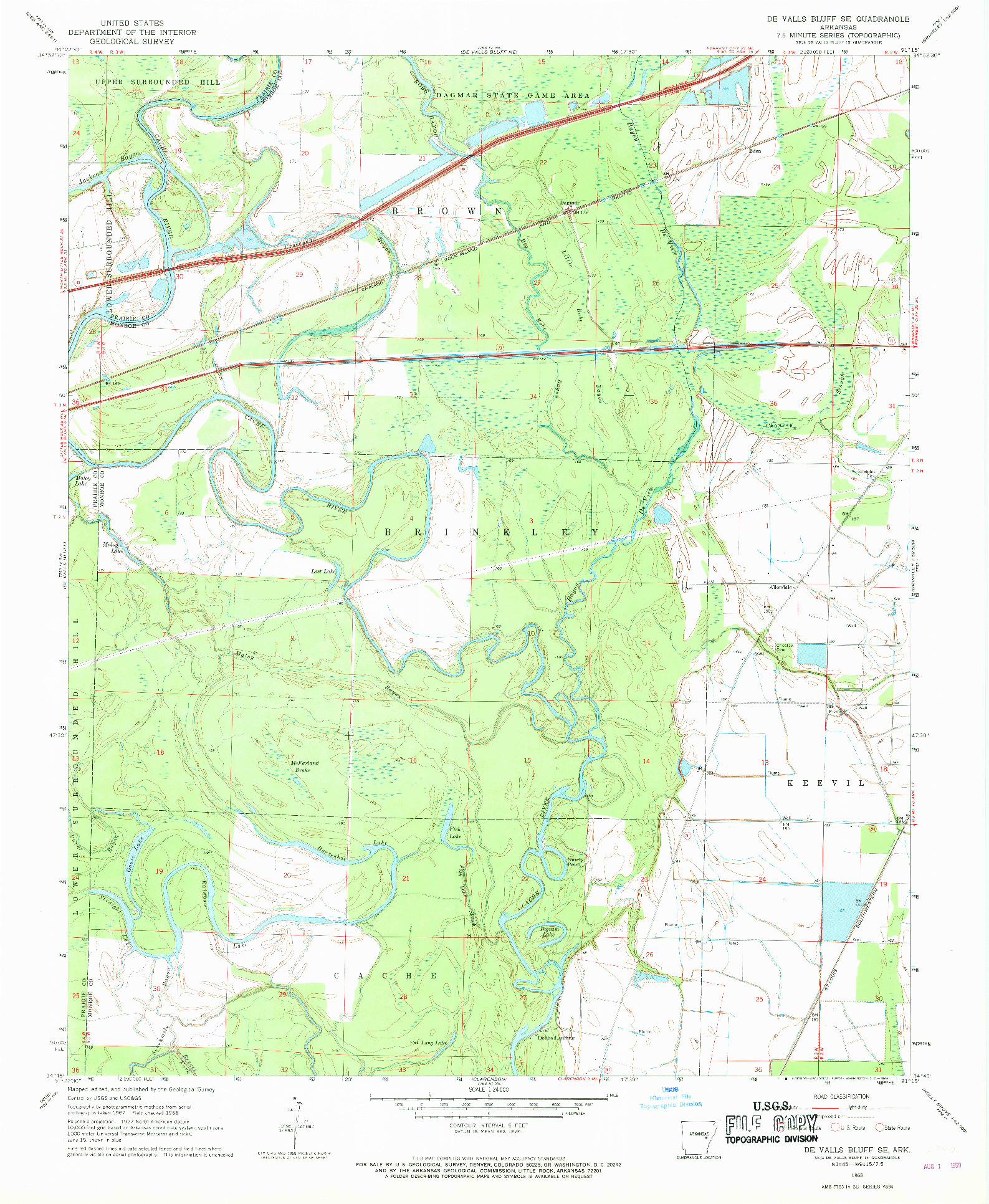 USGS 1:24000-SCALE QUADRANGLE FOR DE VALLS BLUFF SE, AR 1968
