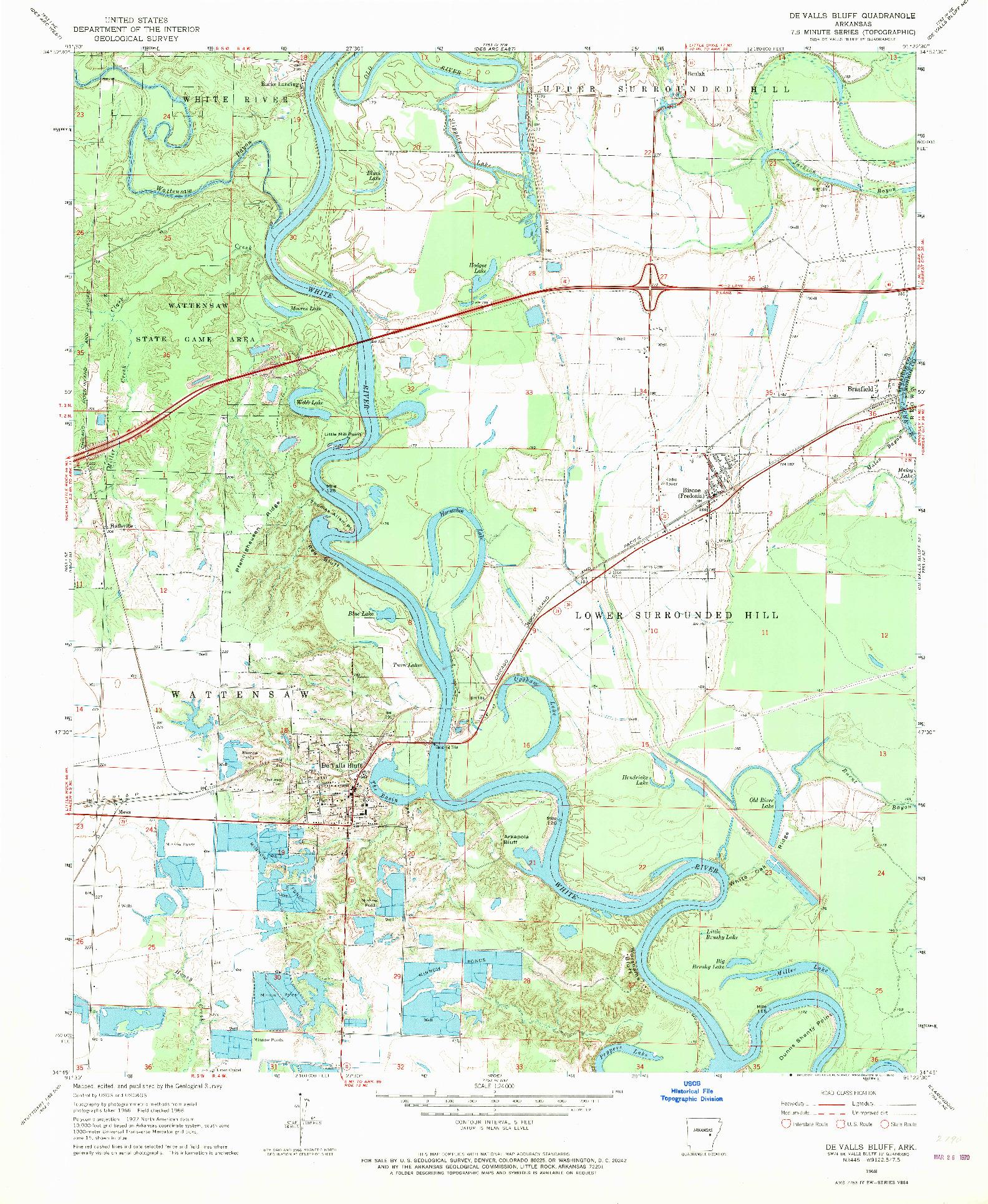 USGS 1:24000-SCALE QUADRANGLE FOR DE VALLS BLUFF, AR 1968