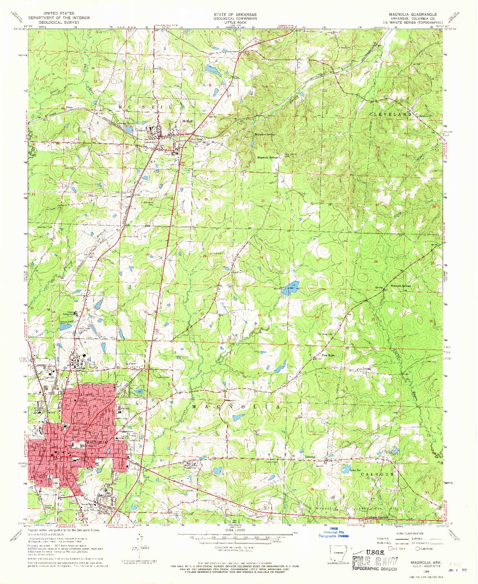 USGS 1:24000-SCALE QUADRANGLE FOR MAGNOLIA, AR 1968
