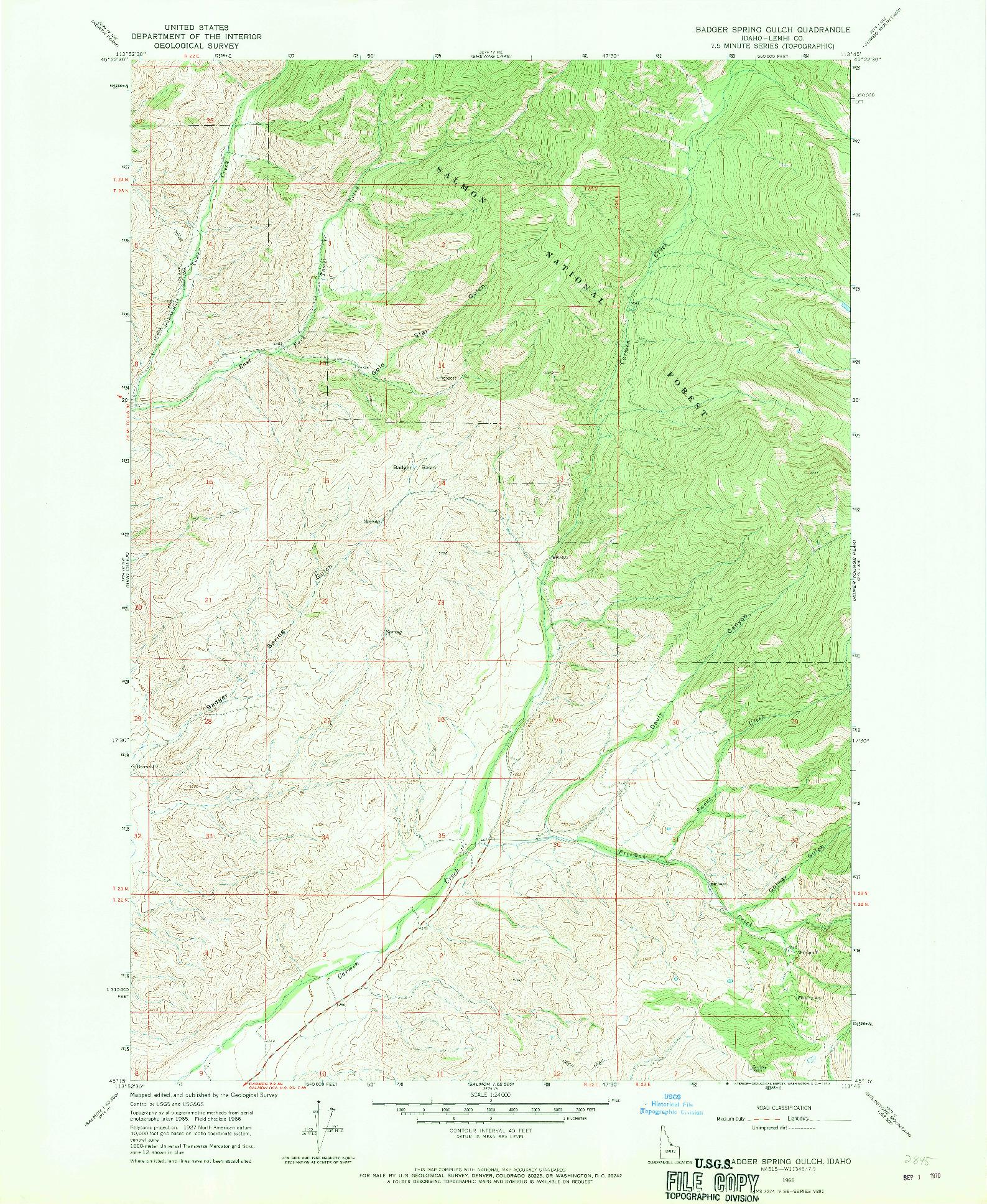 USGS 1:24000-SCALE QUADRANGLE FOR BADGER SPRING GULCH, ID 1966
