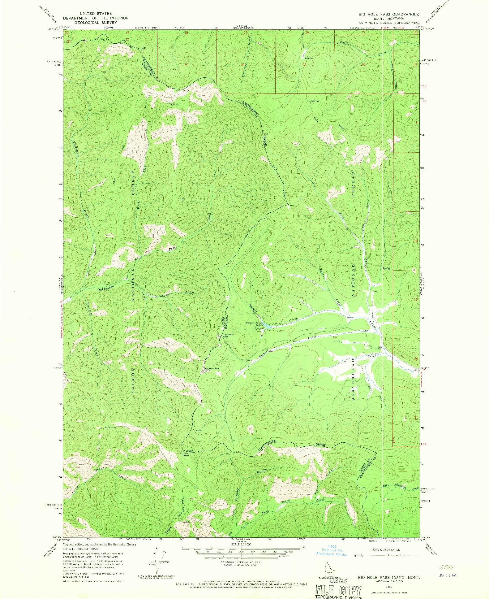 USGS 1:24000-SCALE QUADRANGLE FOR BIG HOLE PASS, ID 1966