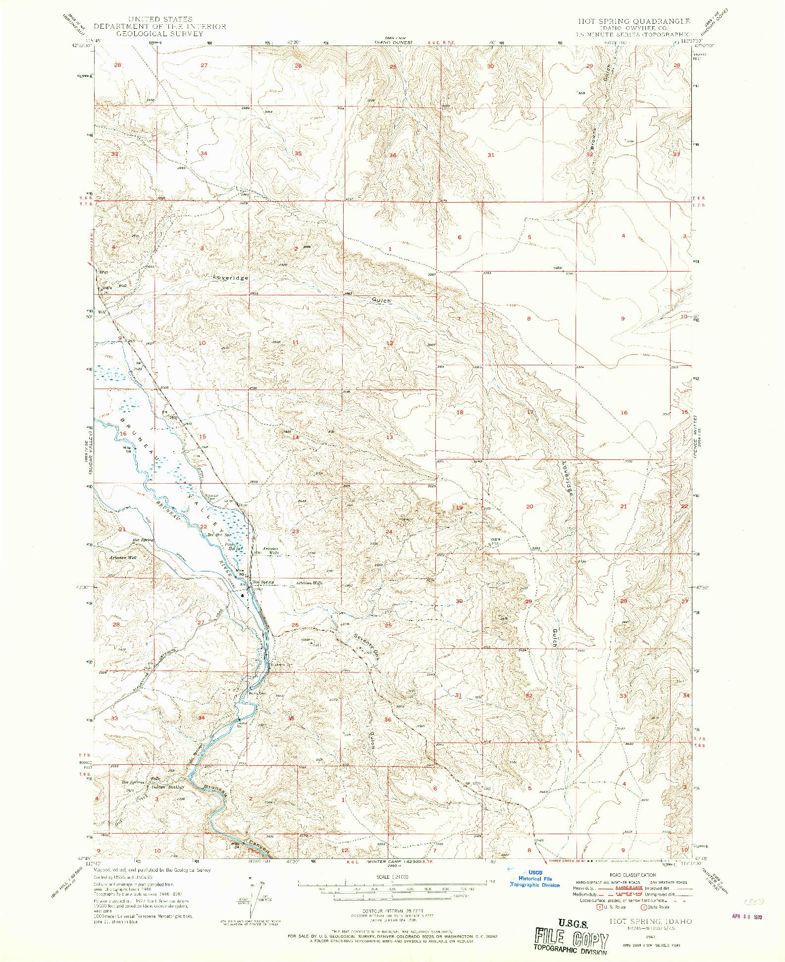 USGS 1:24000-SCALE QUADRANGLE FOR HOT SPRING, ID 1947