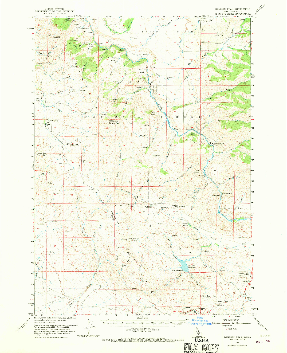 USGS 1:62500-SCALE QUADRANGLE FOR DANSKIN PEAK, ID 1960