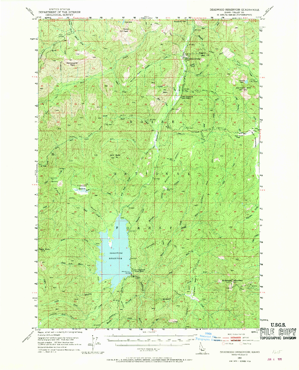 USGS 1:62500-SCALE QUADRANGLE FOR DEADWOOD RESERVOIR, ID 1953