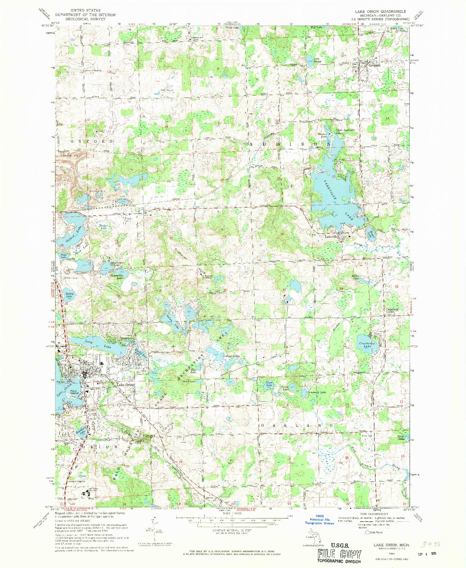 USGS 1:24000-SCALE QUADRANGLE FOR LAKE ORION, MI 1968