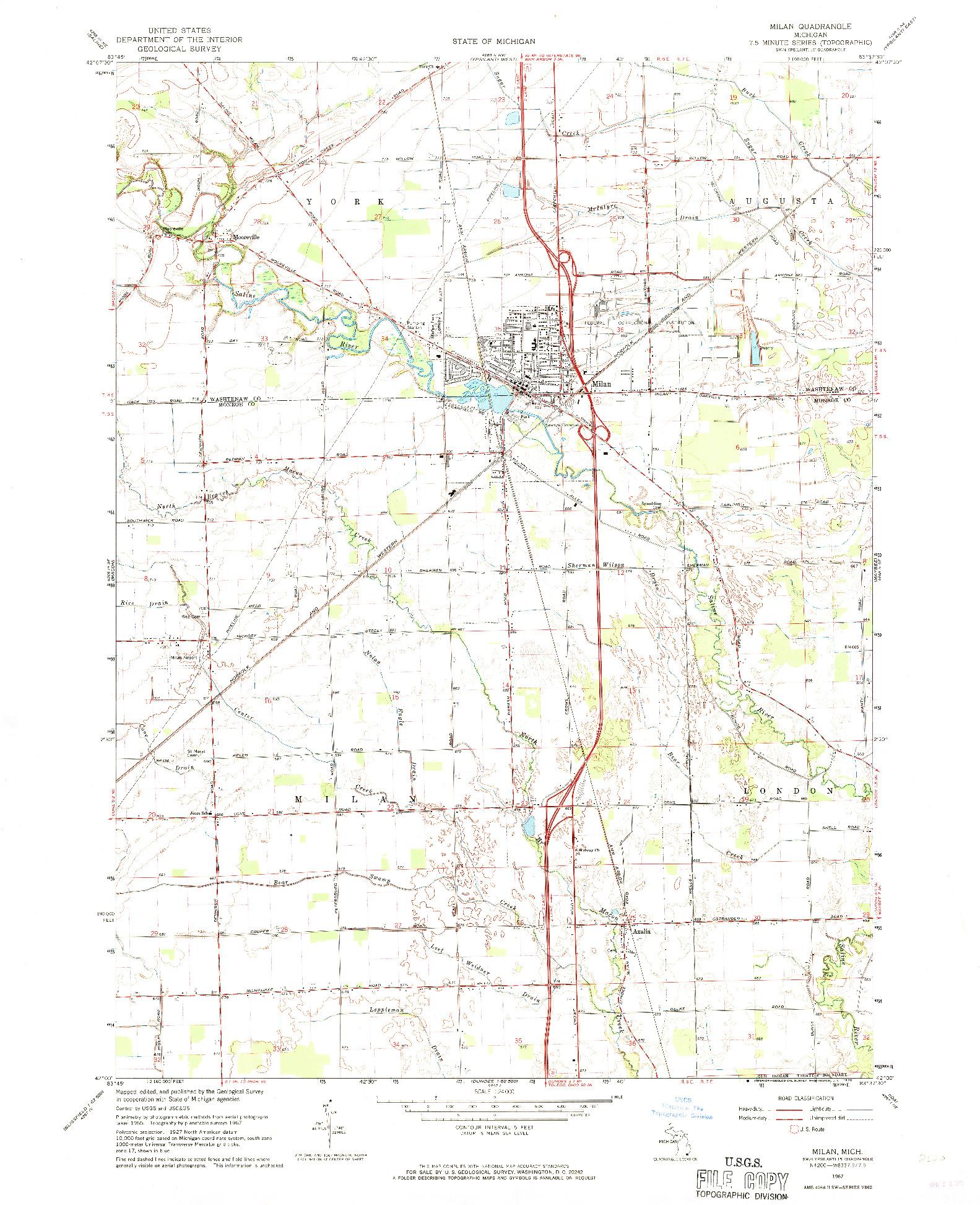 USGS 1:24000-SCALE QUADRANGLE FOR MILAN, MI 1967