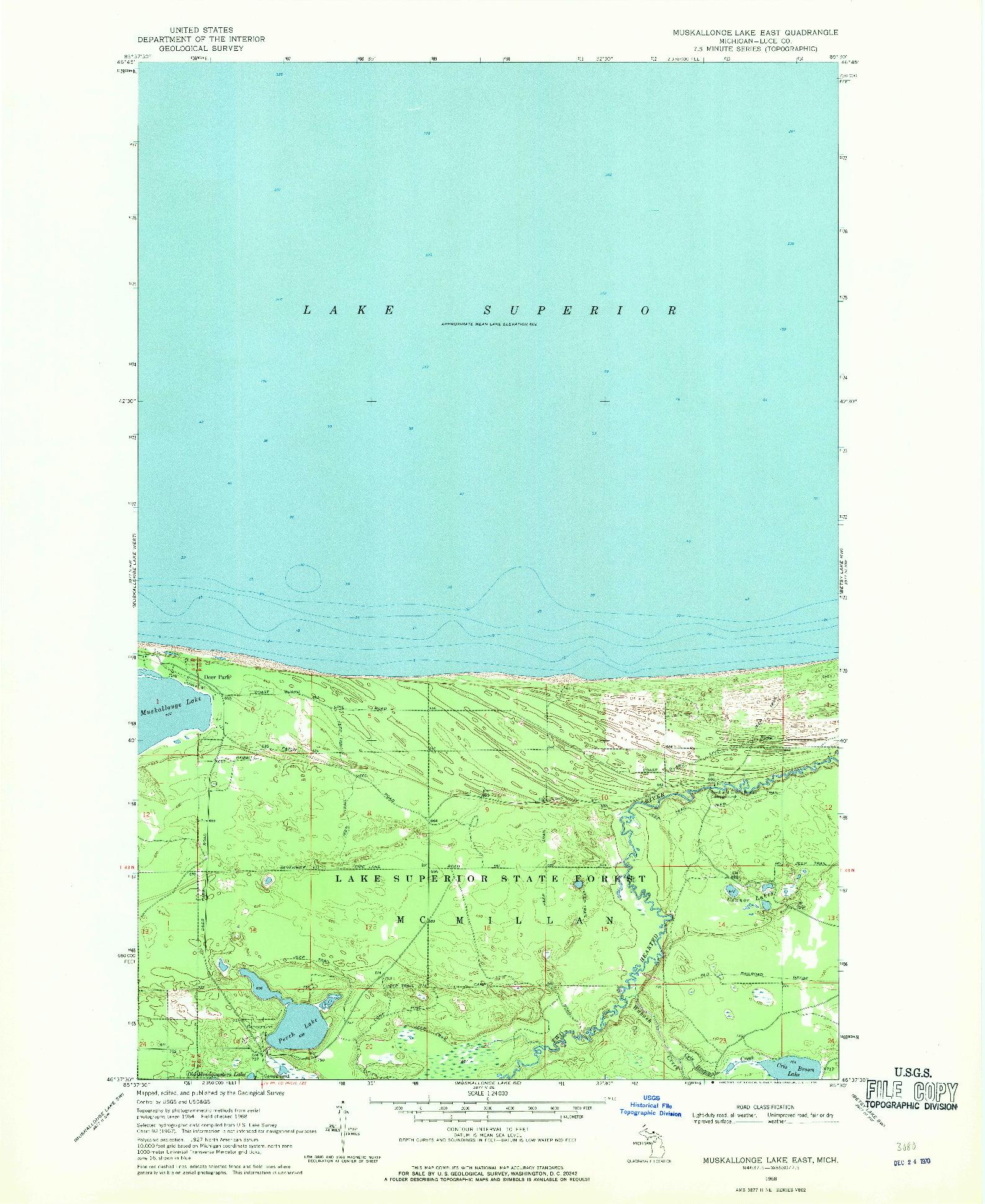 USGS 1:24000-SCALE QUADRANGLE FOR MUSKALLONGE LAKE EAST, MI 1968