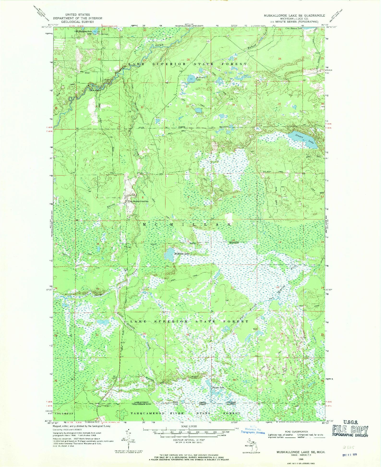 USGS 1:24000-SCALE QUADRANGLE FOR MUSKALLONGE LAKE SE, MI 1968