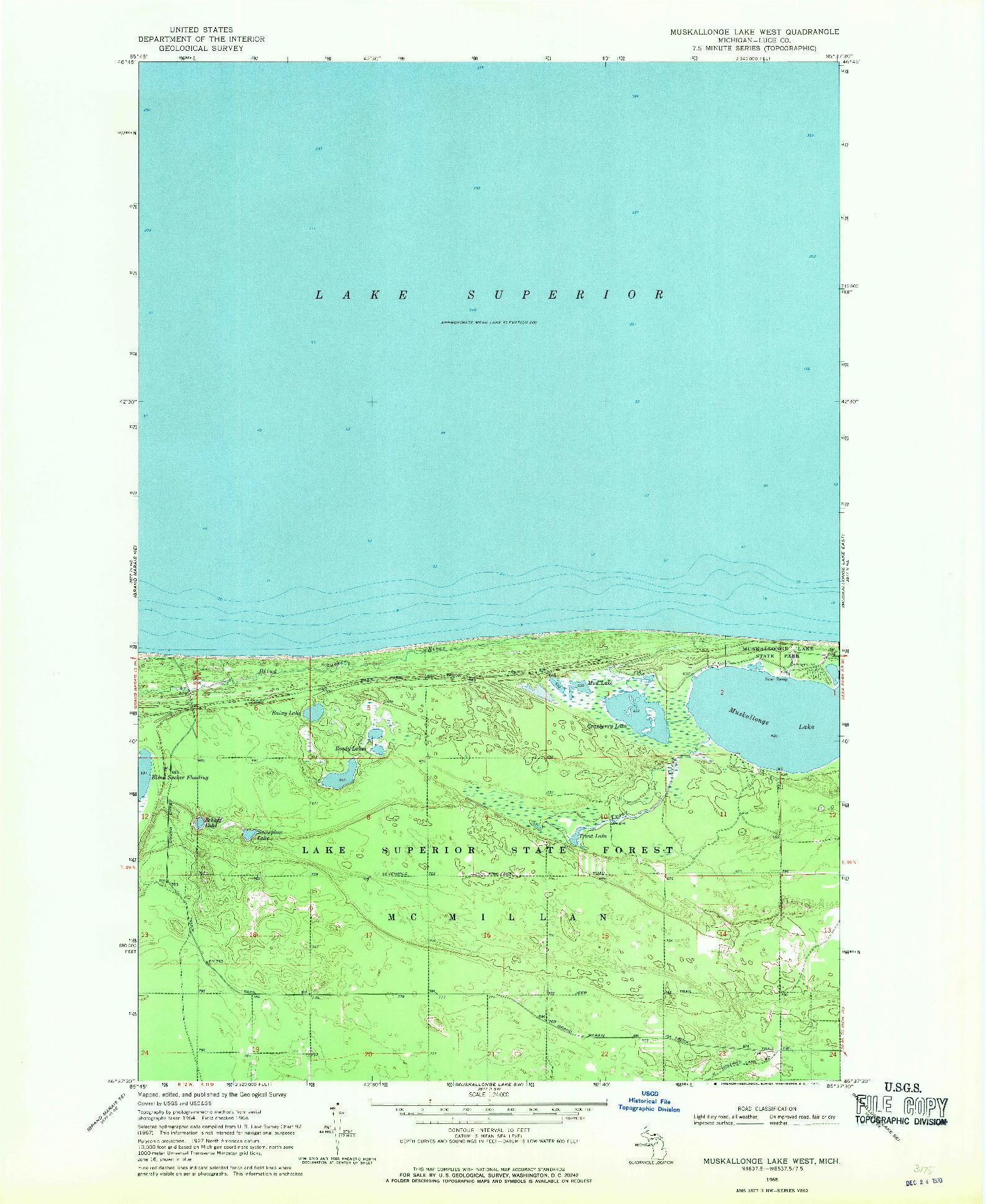 USGS 1:24000-SCALE QUADRANGLE FOR MUSKALLONGE LAKE WEST, MI 1968
