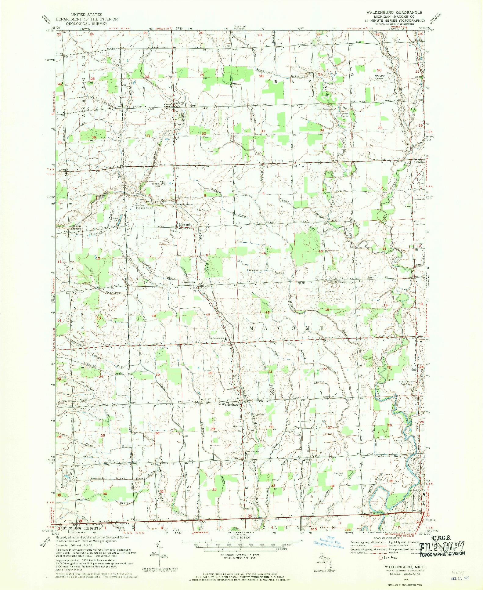 USGS 1:24000-SCALE QUADRANGLE FOR WALDENBURG, MI 1968