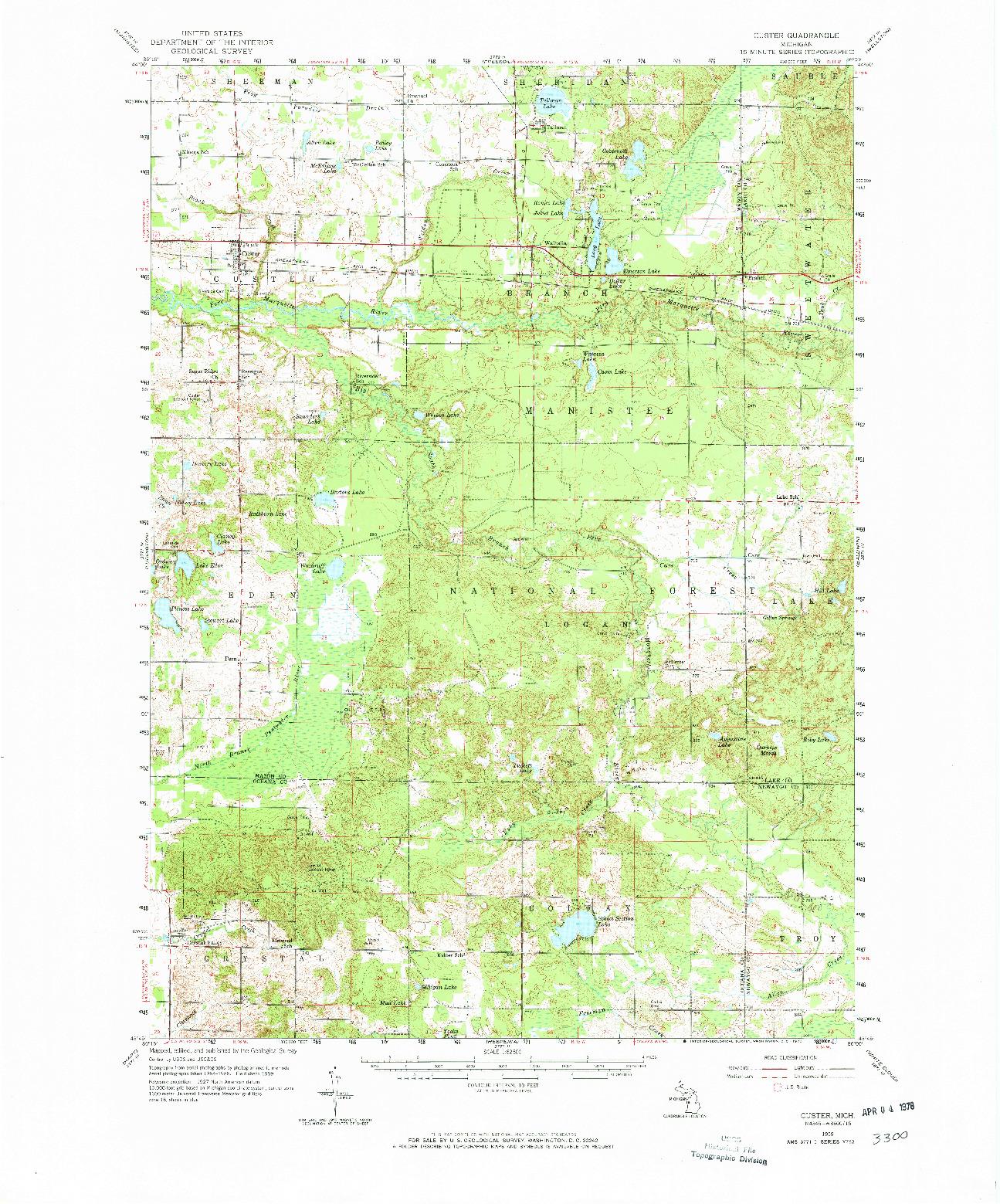 USGS 1:62500-SCALE QUADRANGLE FOR CUSTER, MI 1959