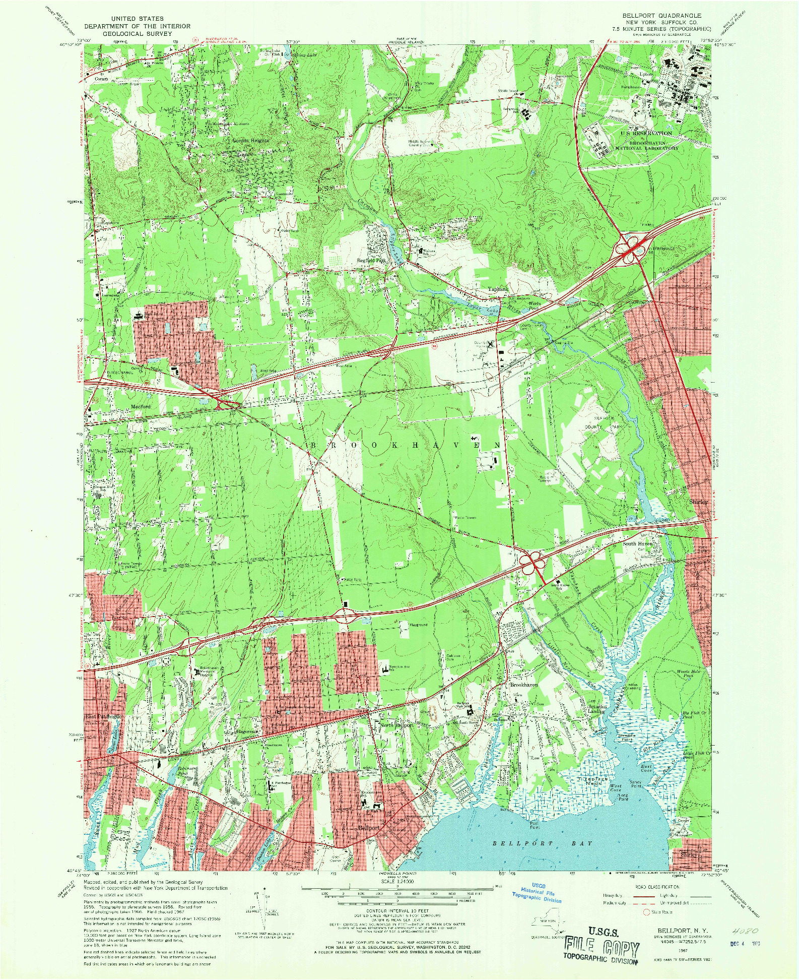 USGS 1:24000-SCALE QUADRANGLE FOR BELLPORT, NY 1967