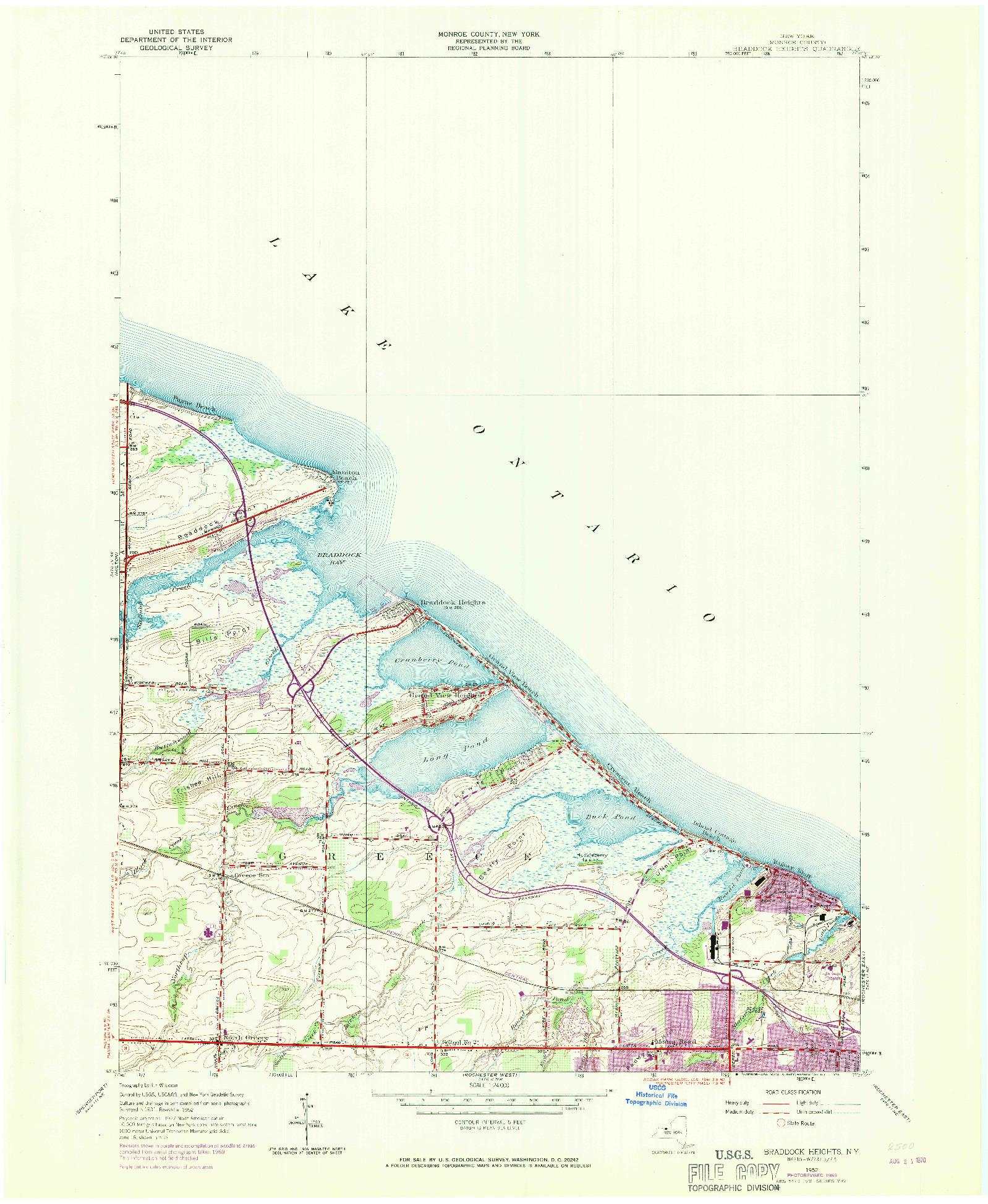 USGS 1:24000-SCALE QUADRANGLE FOR BRADDOCK HEIGHTS, NY 1952